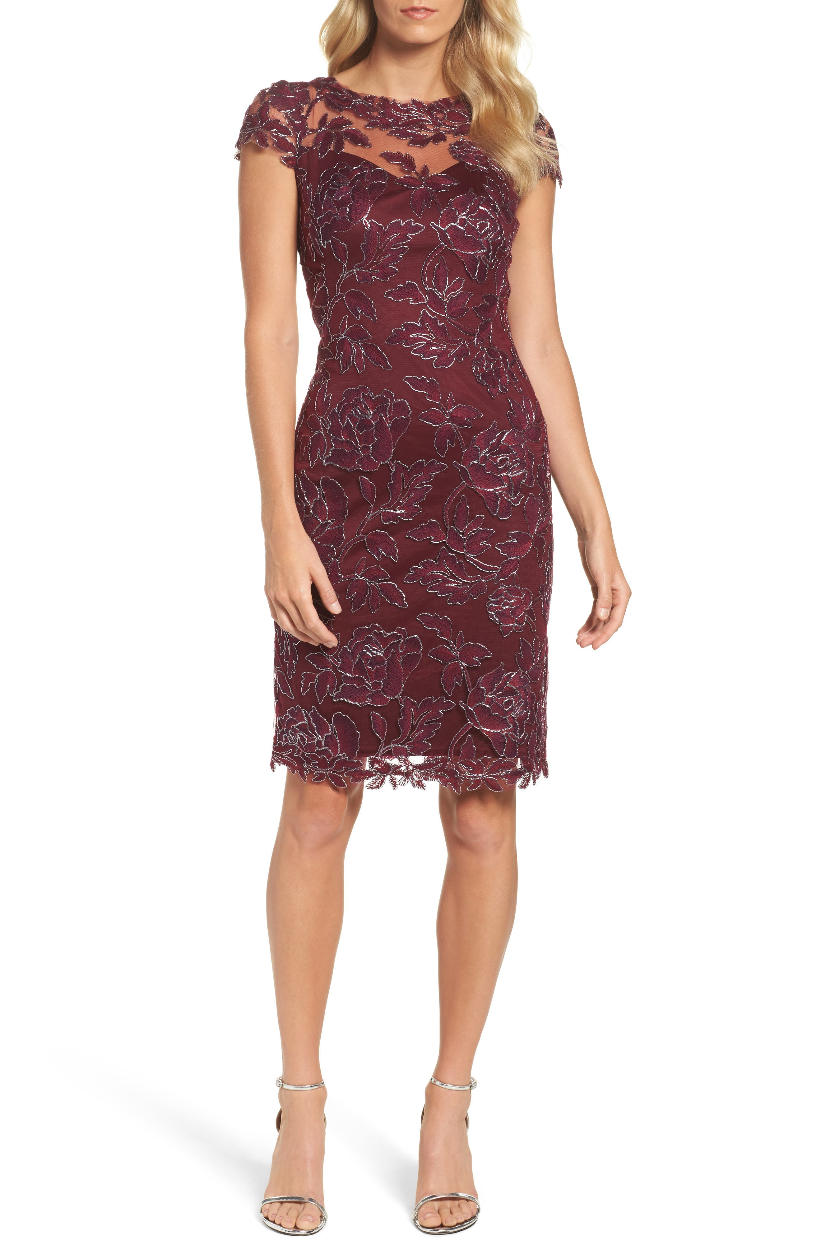 Embroidered Mesh Sheath Dress,                             Main thumbnail 3, color,