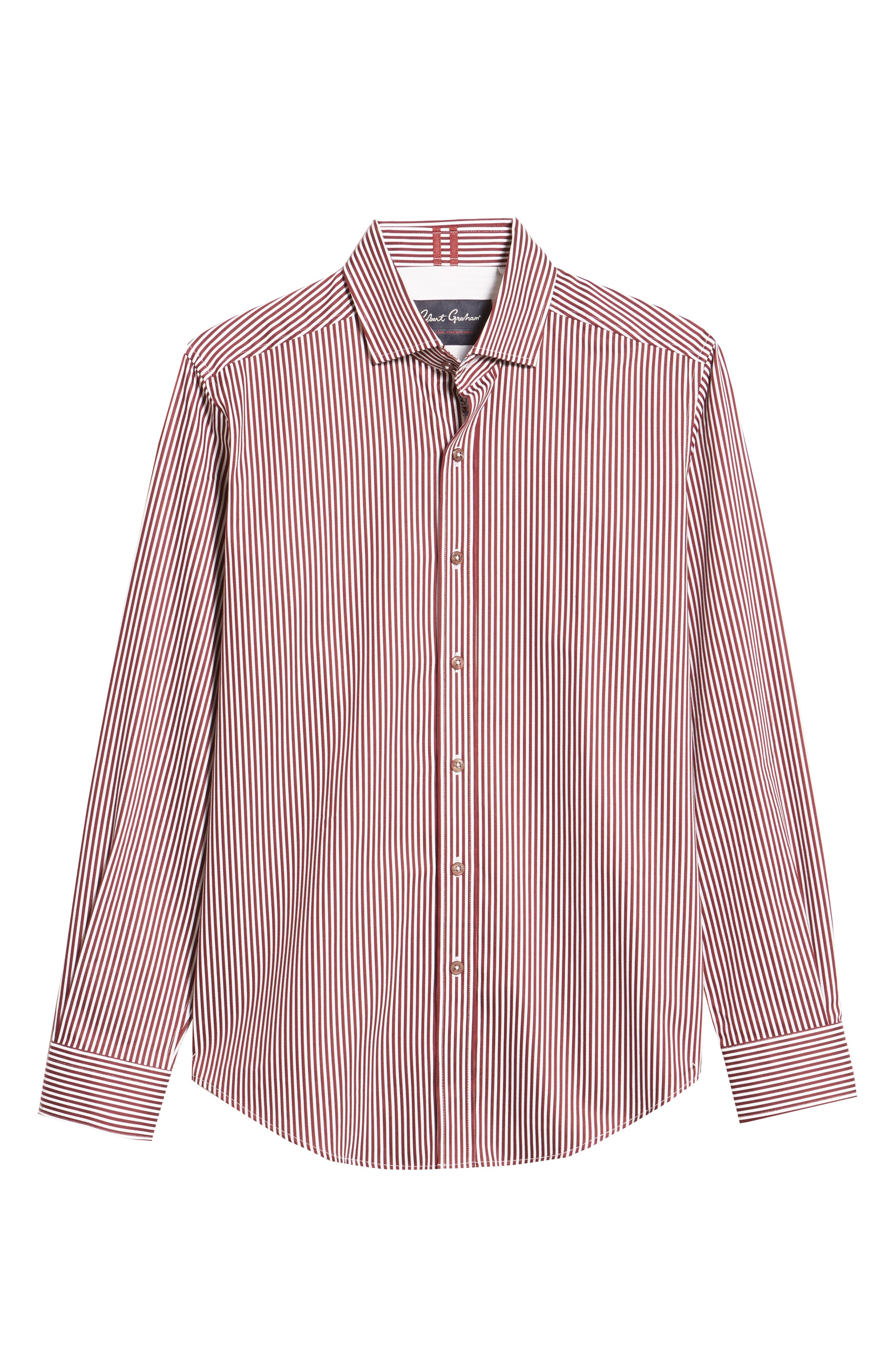 Luther Classic Fit Stripe Sport Shirt,                             Alternate thumbnail 5, color,                             BURGUNDY