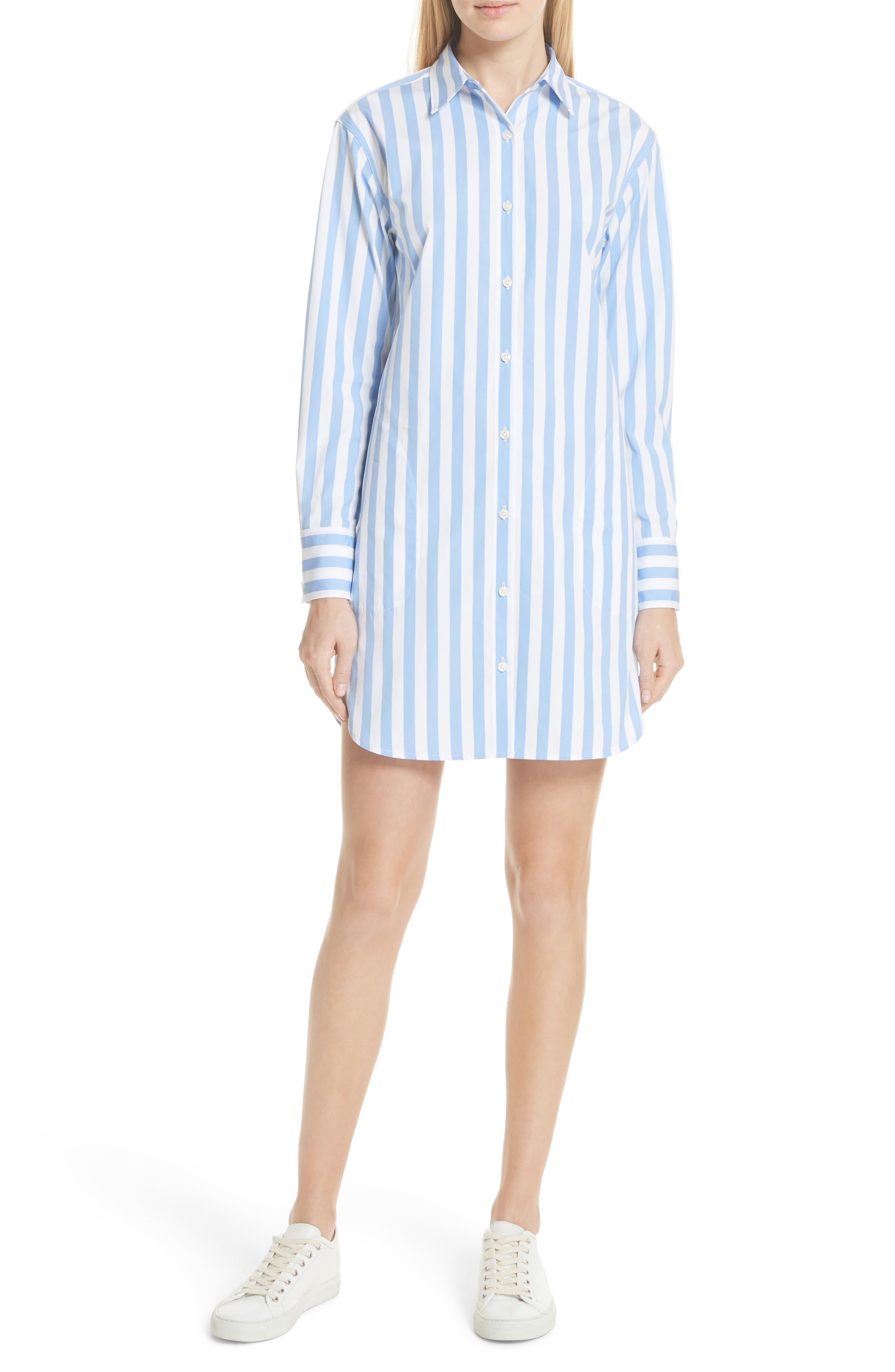 The Shirt Dress,                             Main thumbnail 1, color,                             WHITE/ SKY BOLD