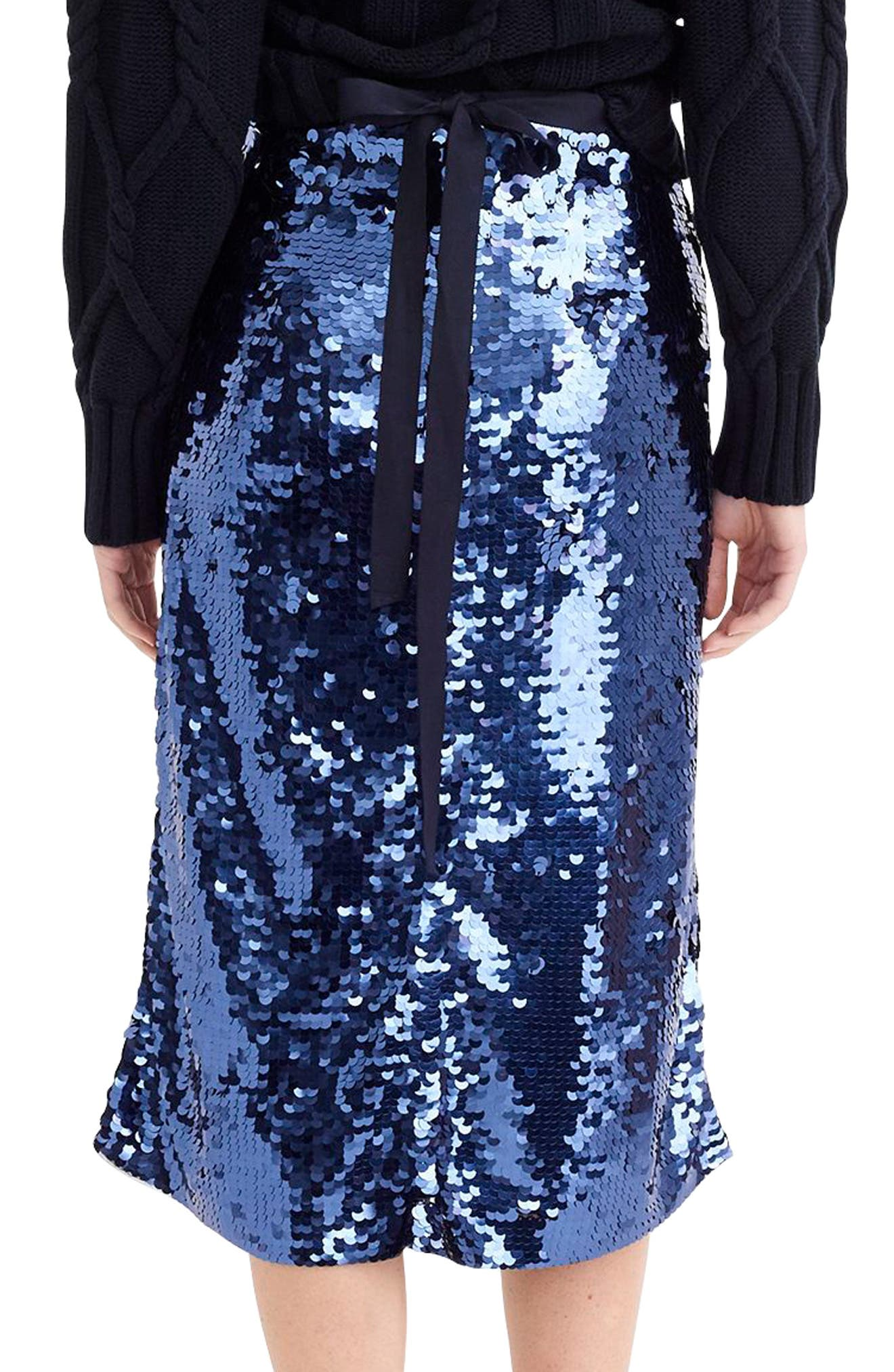Sequin Midi Skirt with Tie,                             Alternate thumbnail 2, color,                             NAVY