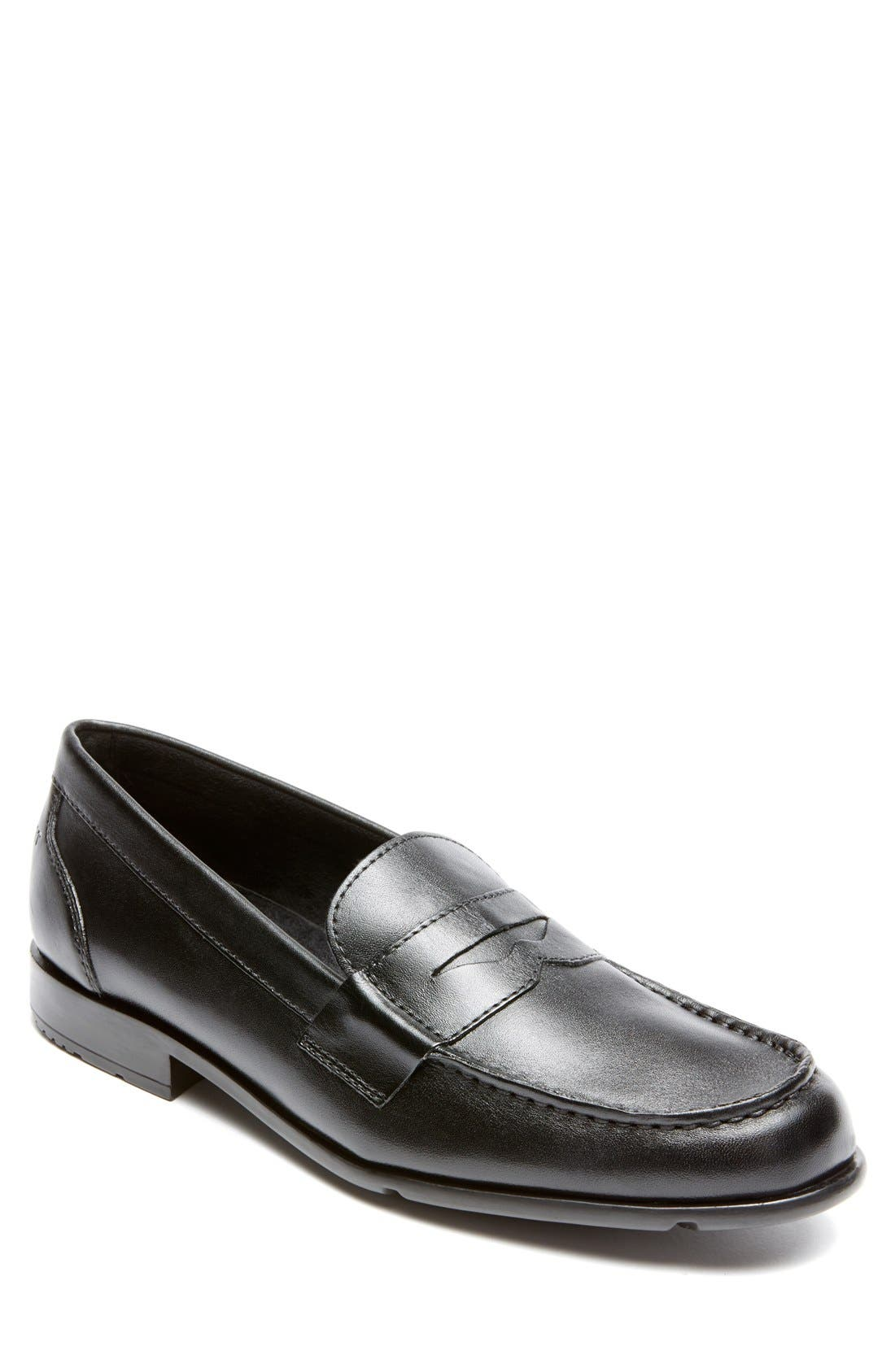 Leather Penny Loafer,                         Main,                         color, BLACK