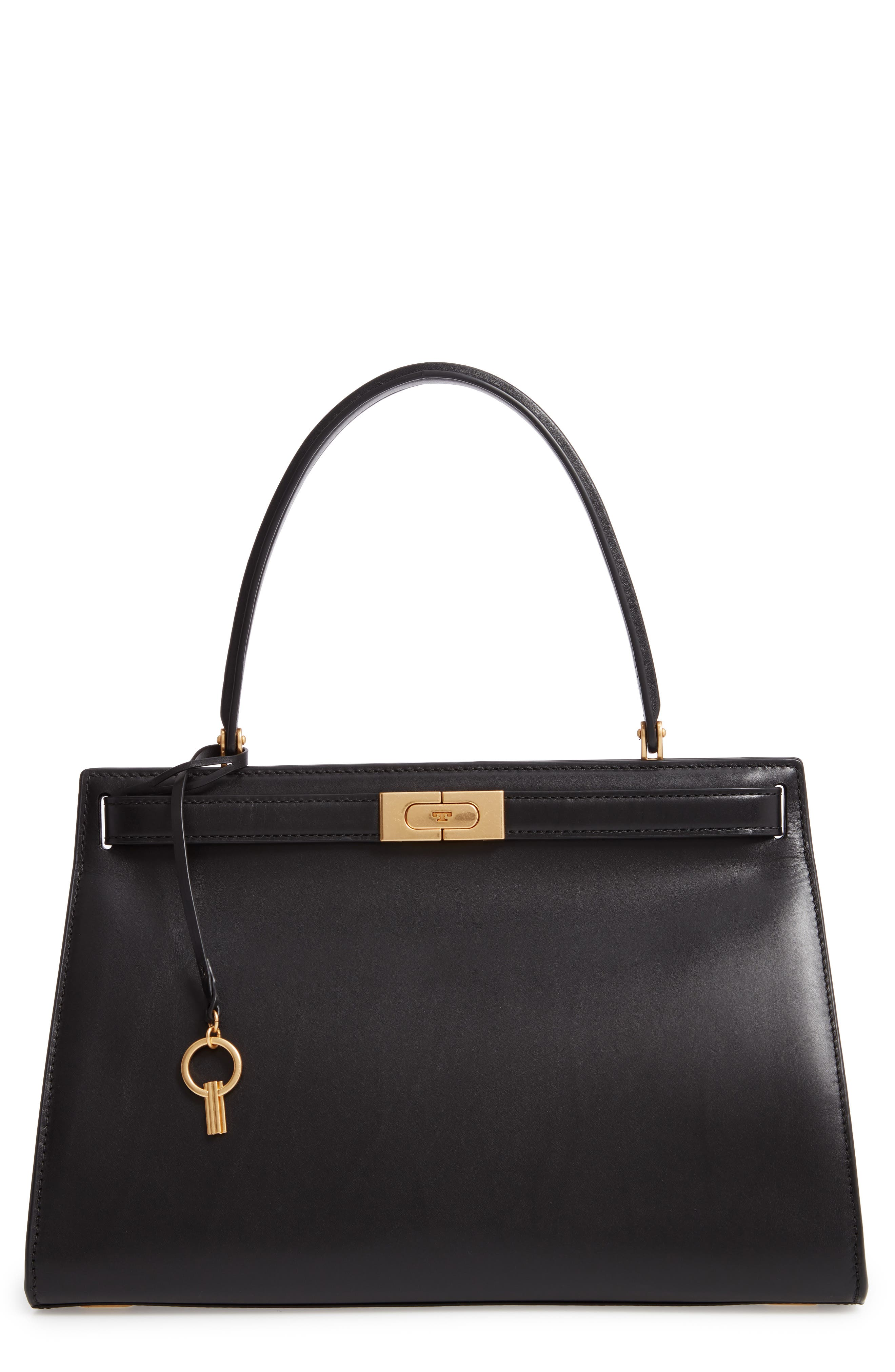 Lee Radziwill Small Leather Satchel,                         Main,                         color, BLACK