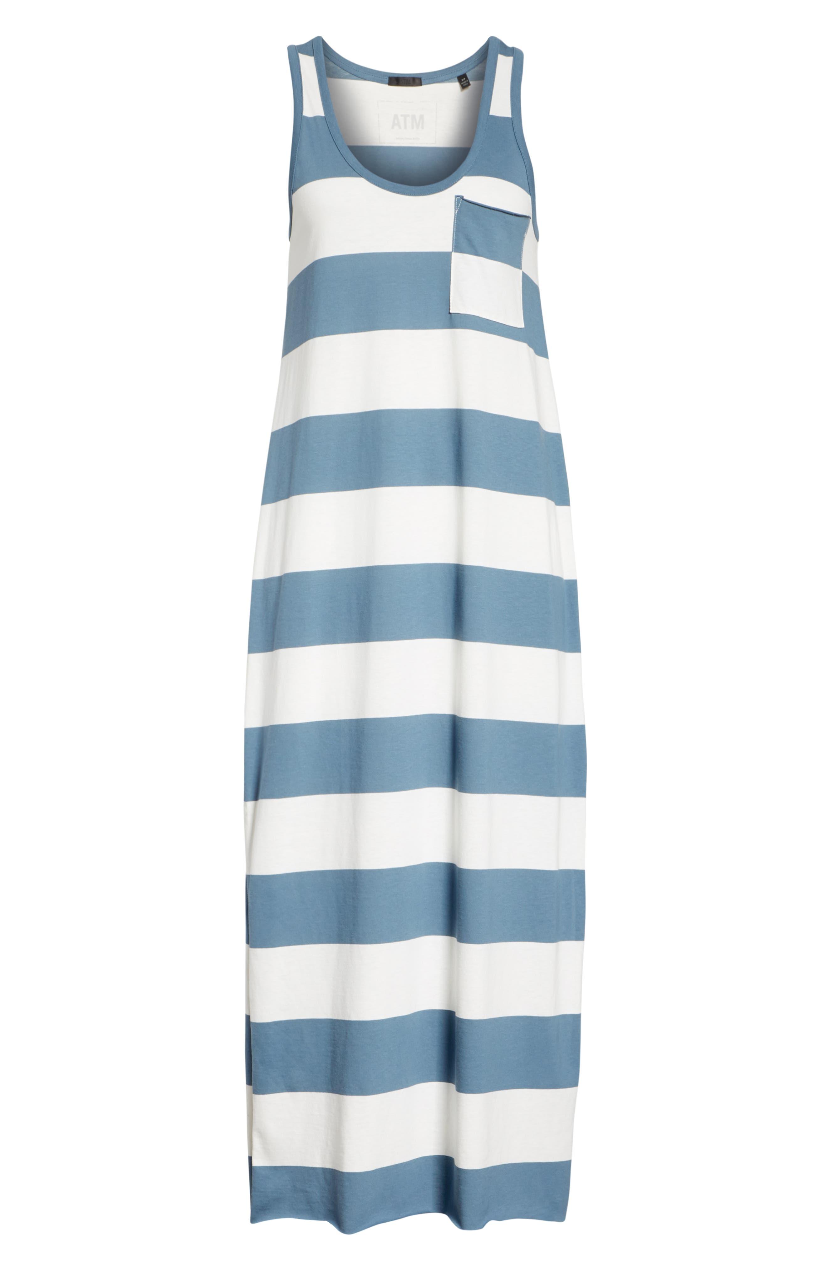 Stripe Mercerized Jersey Dress,                             Alternate thumbnail 6, color,                             CHALK/ PRUSSIAN