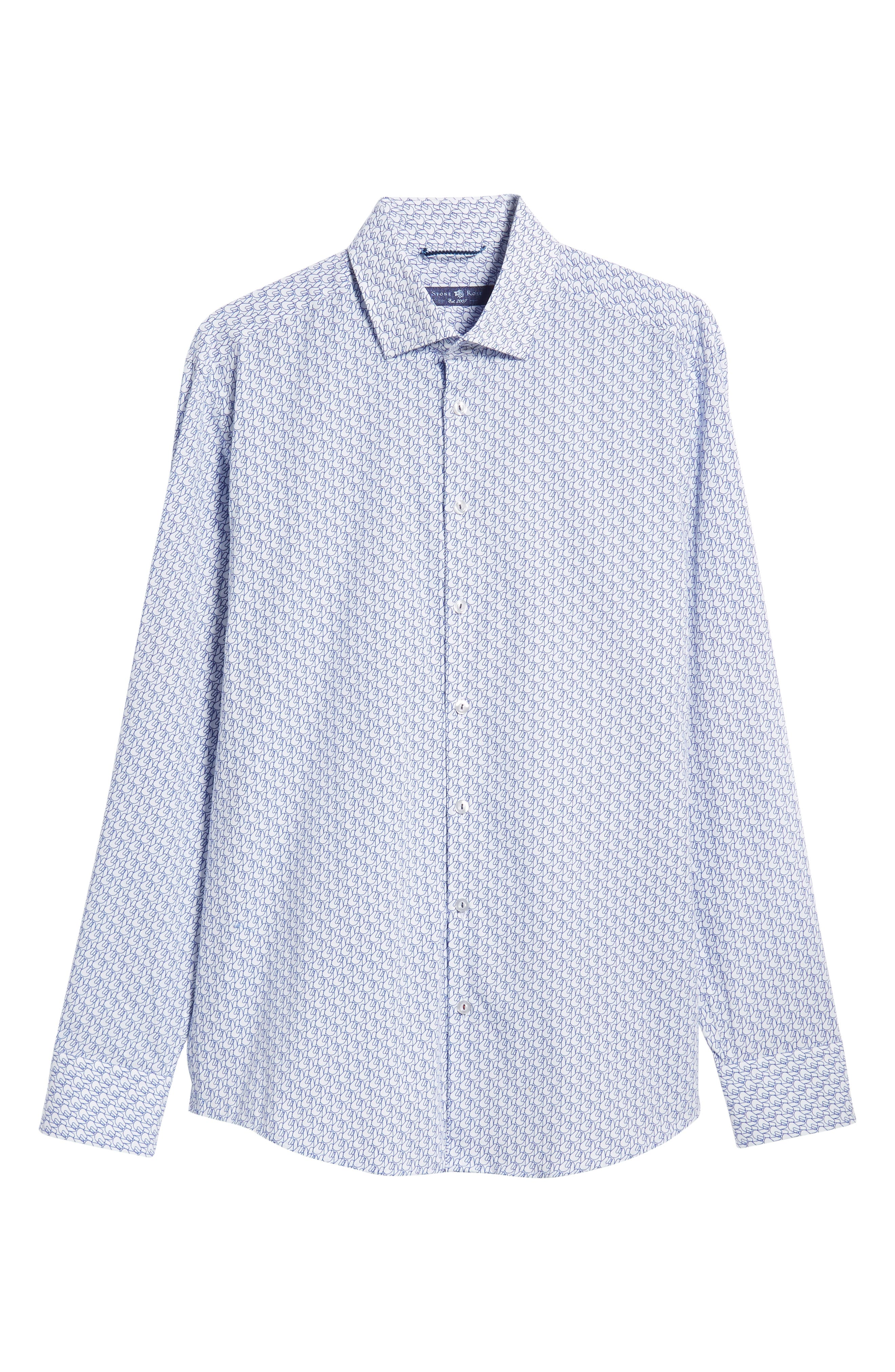 Trim Fit Sport Shirt,                             Alternate thumbnail 5, color,                             WHITE