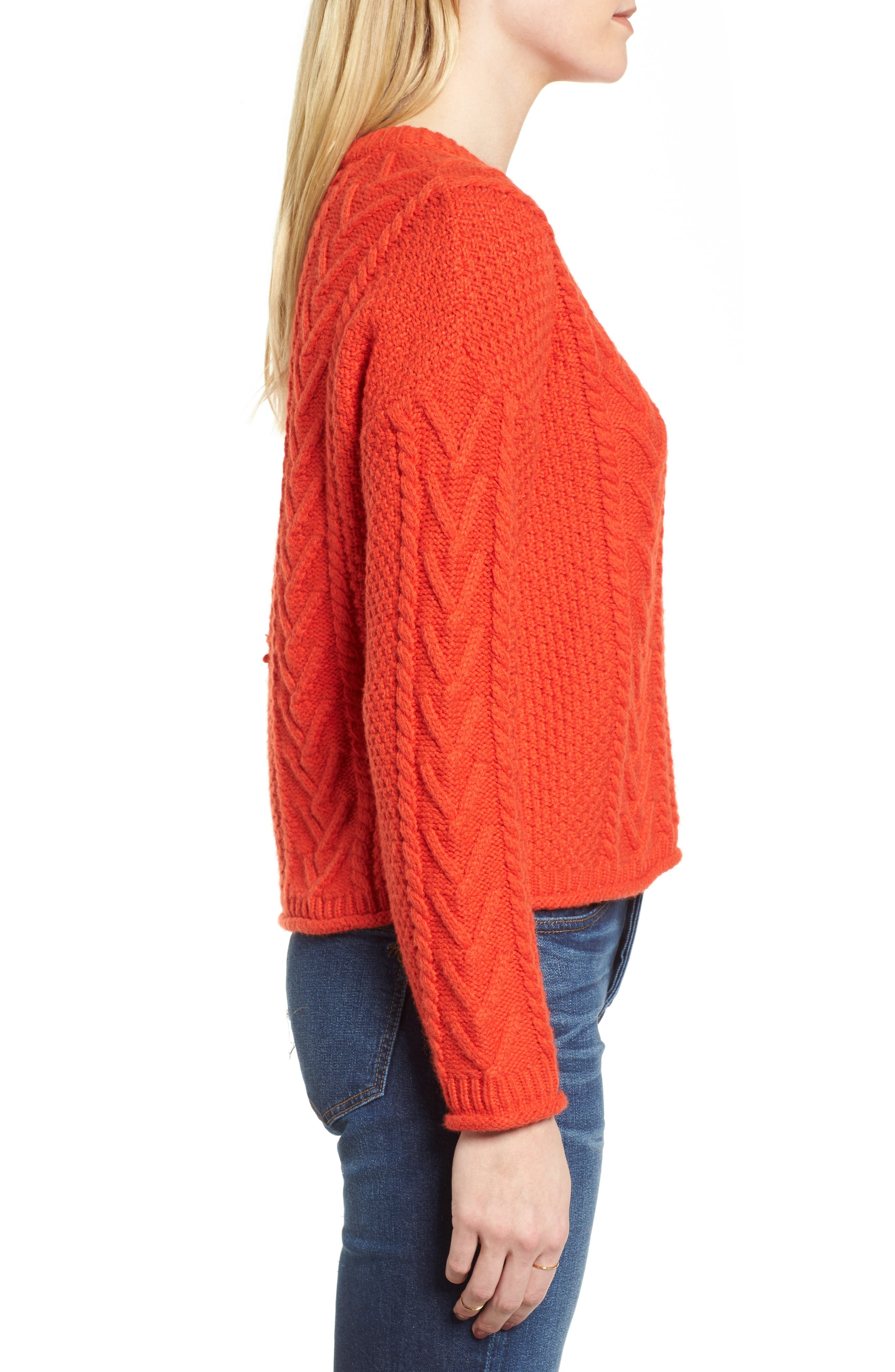 Cable Knit Pullover Sweater,                             Alternate thumbnail 5, color,