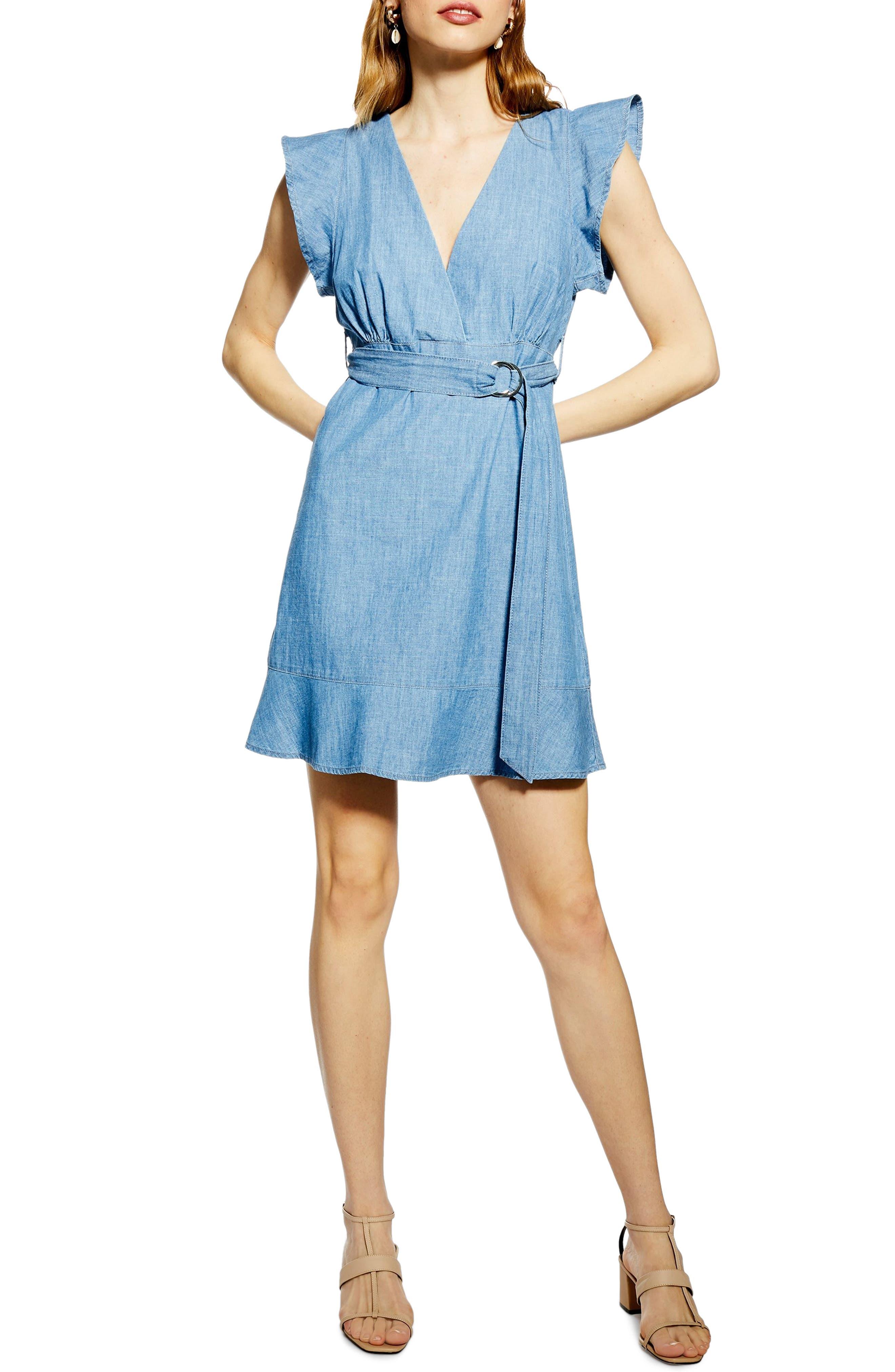 Topshop Flute Belt Minidress, US (fits like 14) - Blue