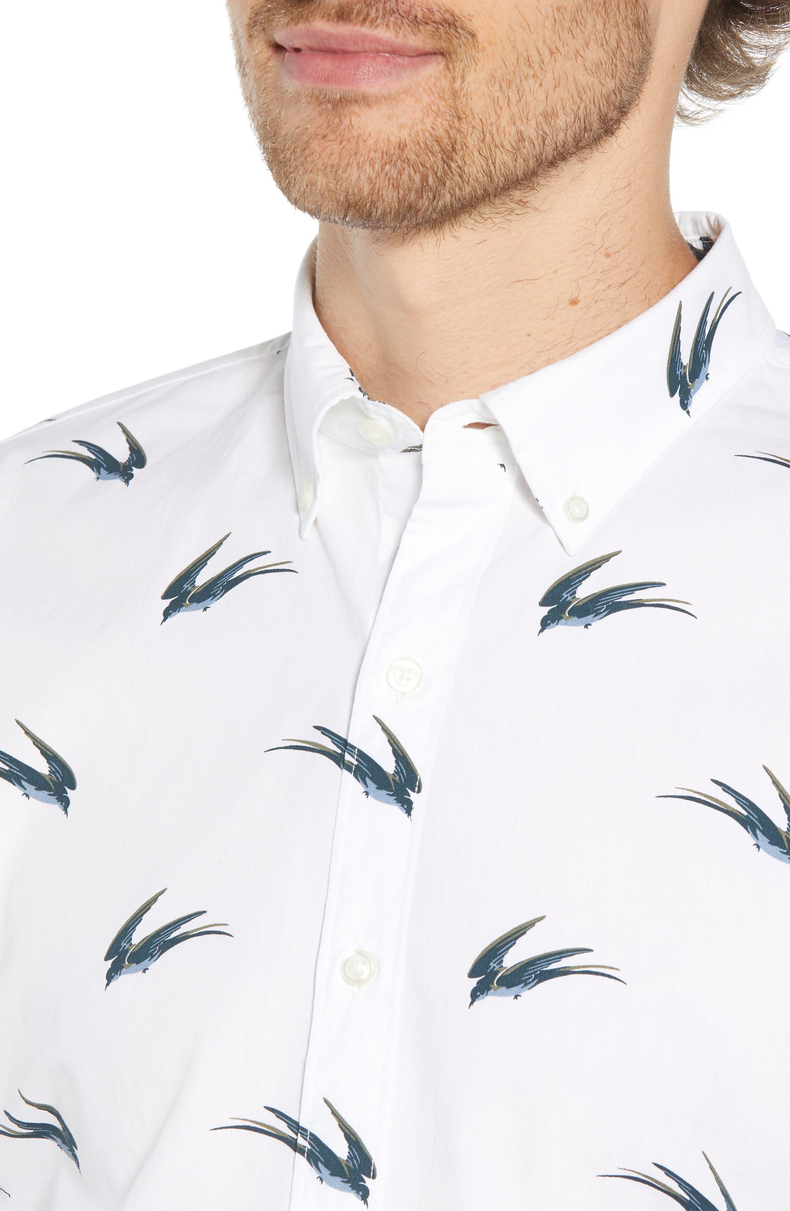 Summerweight Slim Fit Swallow Print Sport Shirt,                             Alternate thumbnail 2, color,                             SWALLOW HOLLOW - VIRIDIEN