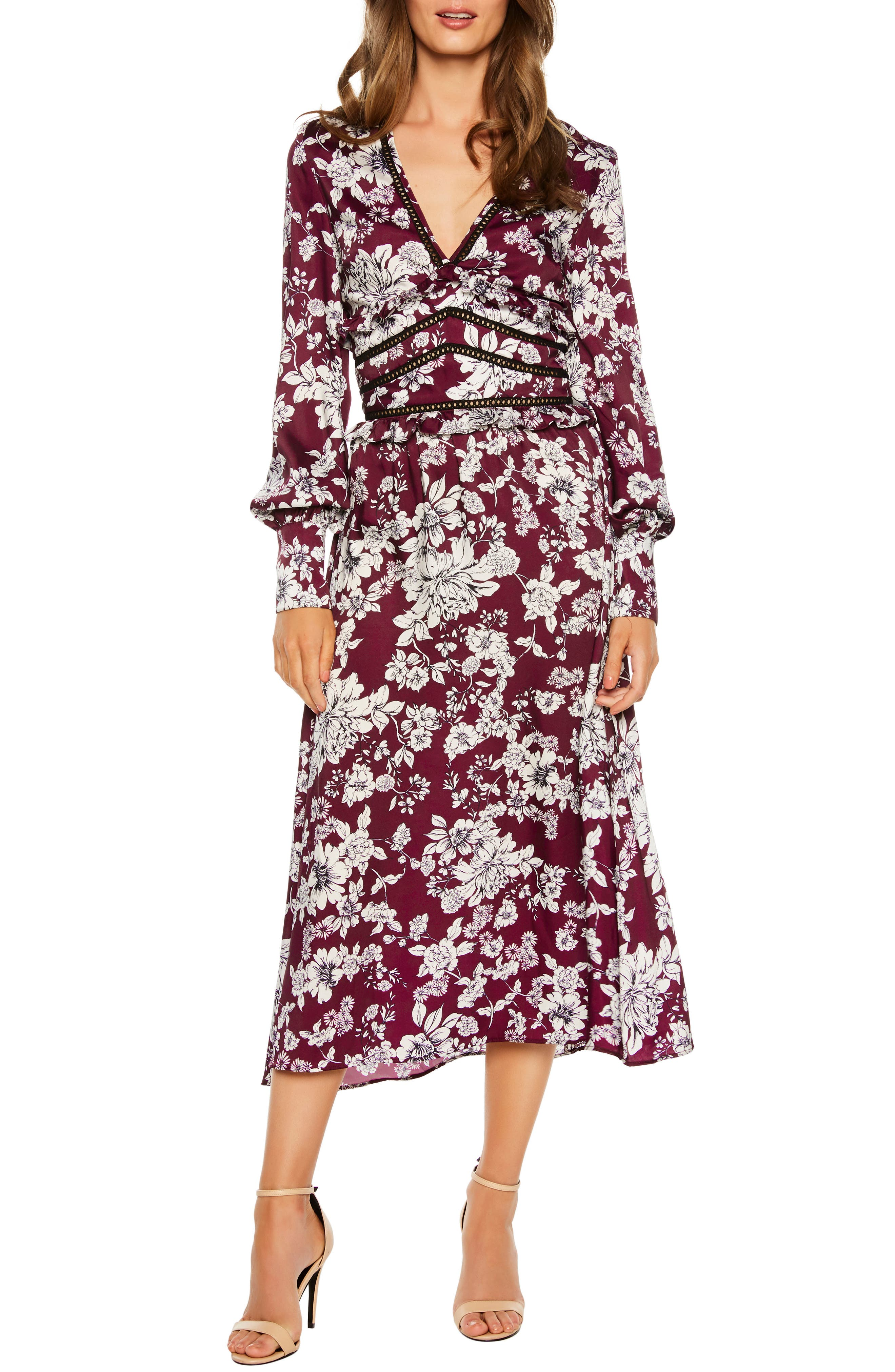Bardot Jolie Print Midi Dress, Burgundy