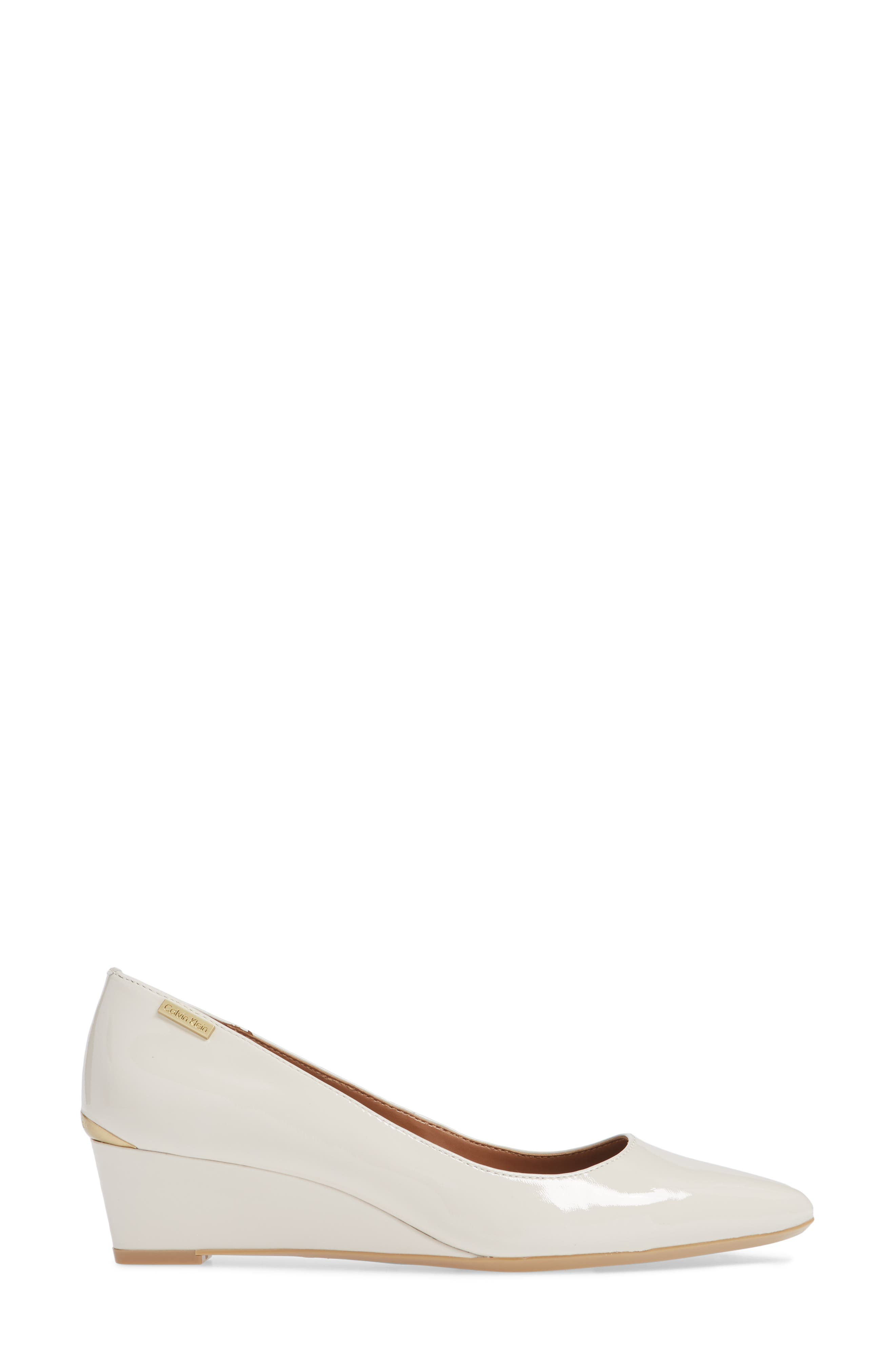 'Germina' Pointy Toe Wedge,                             Alternate thumbnail 3, color,                             SOFT WHITE PATENT