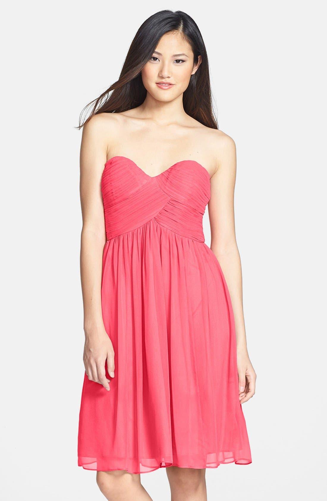 'Morgan' Strapless Silk Chiffon Dress,                             Main thumbnail 29, color,