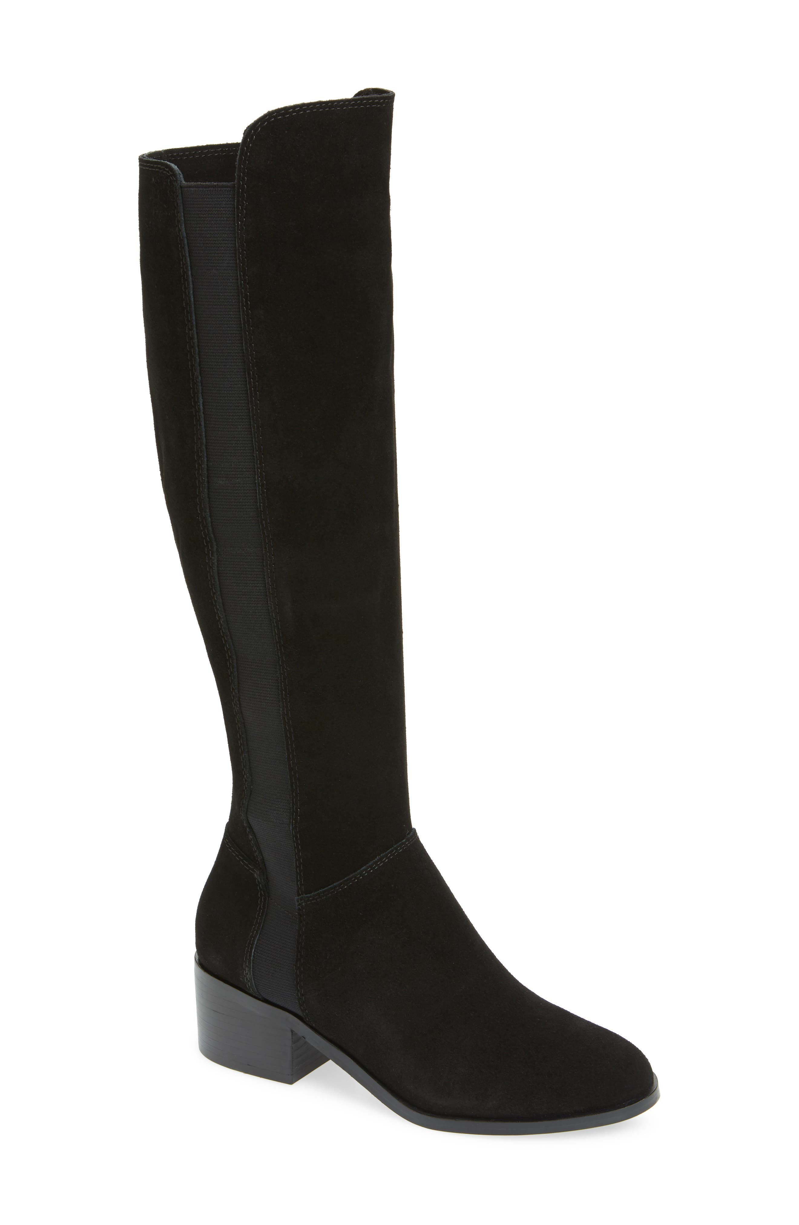 Giselle Over the Knee Boot,                             Main thumbnail 1, color,                             BLACK SUEDE