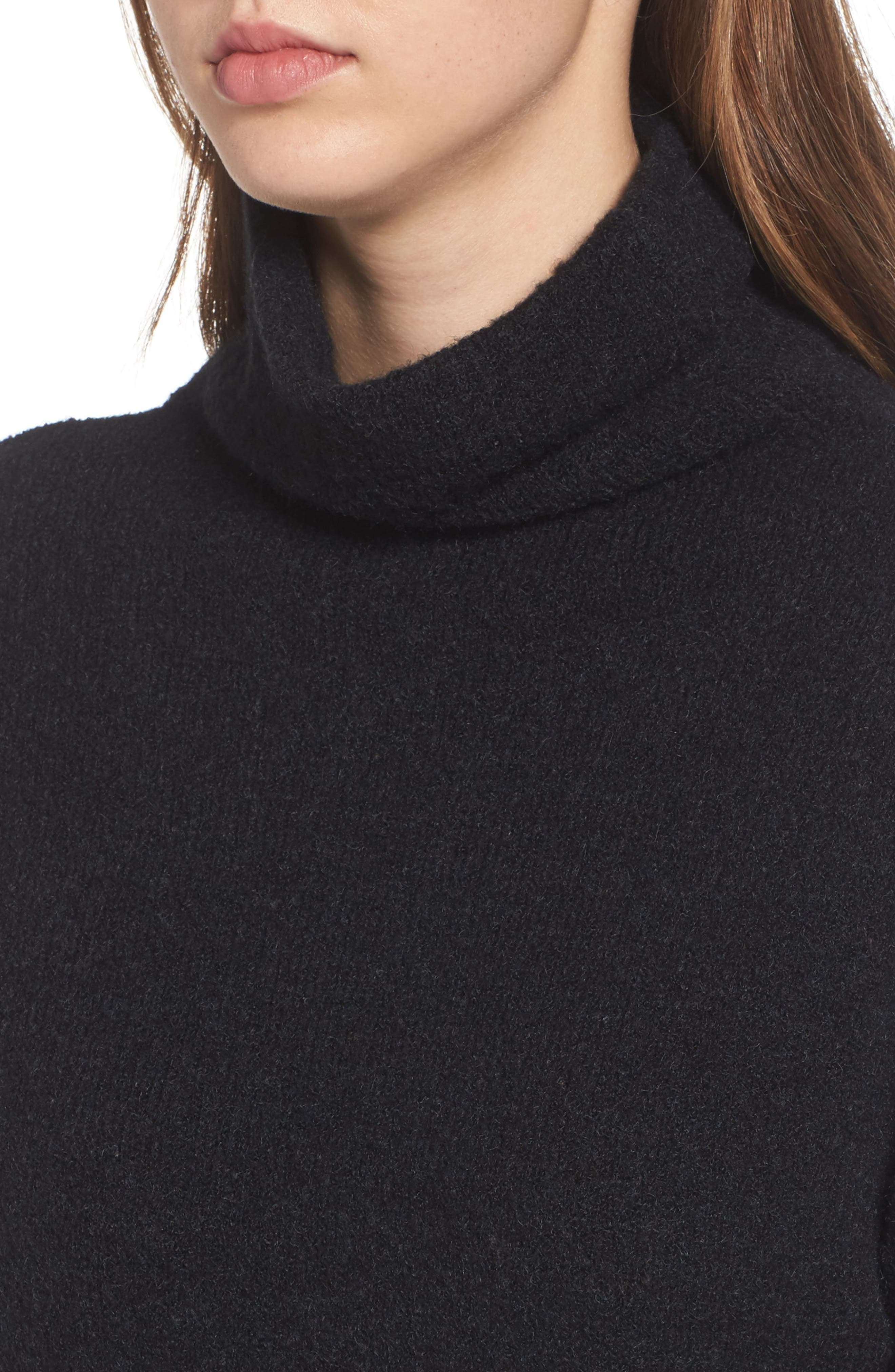 Bouclé Turtleneck Tunic Sweater,                             Alternate thumbnail 4, color,                             001