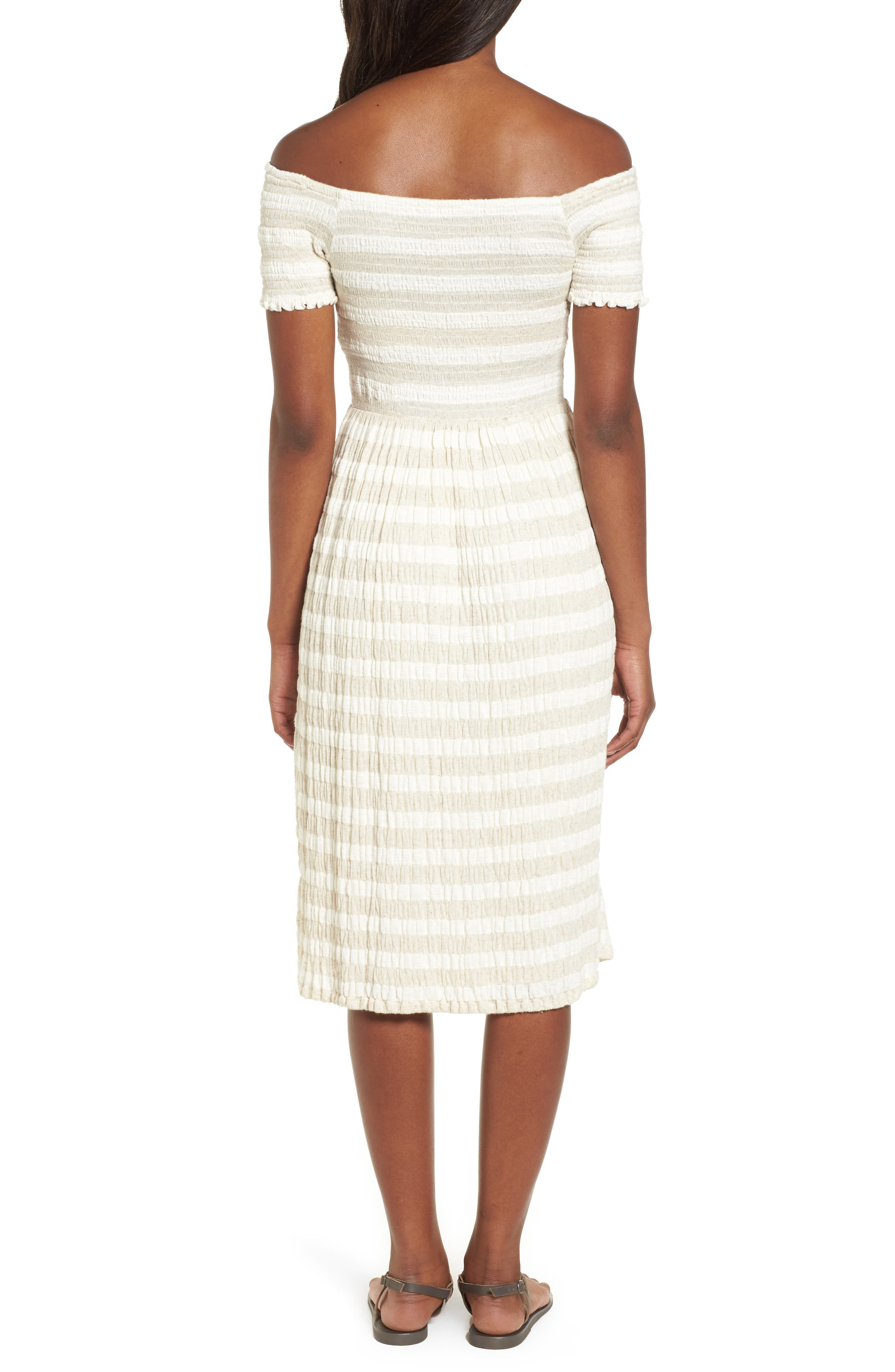 Stripe Smocked Midi Dress,                             Alternate thumbnail 2, color,