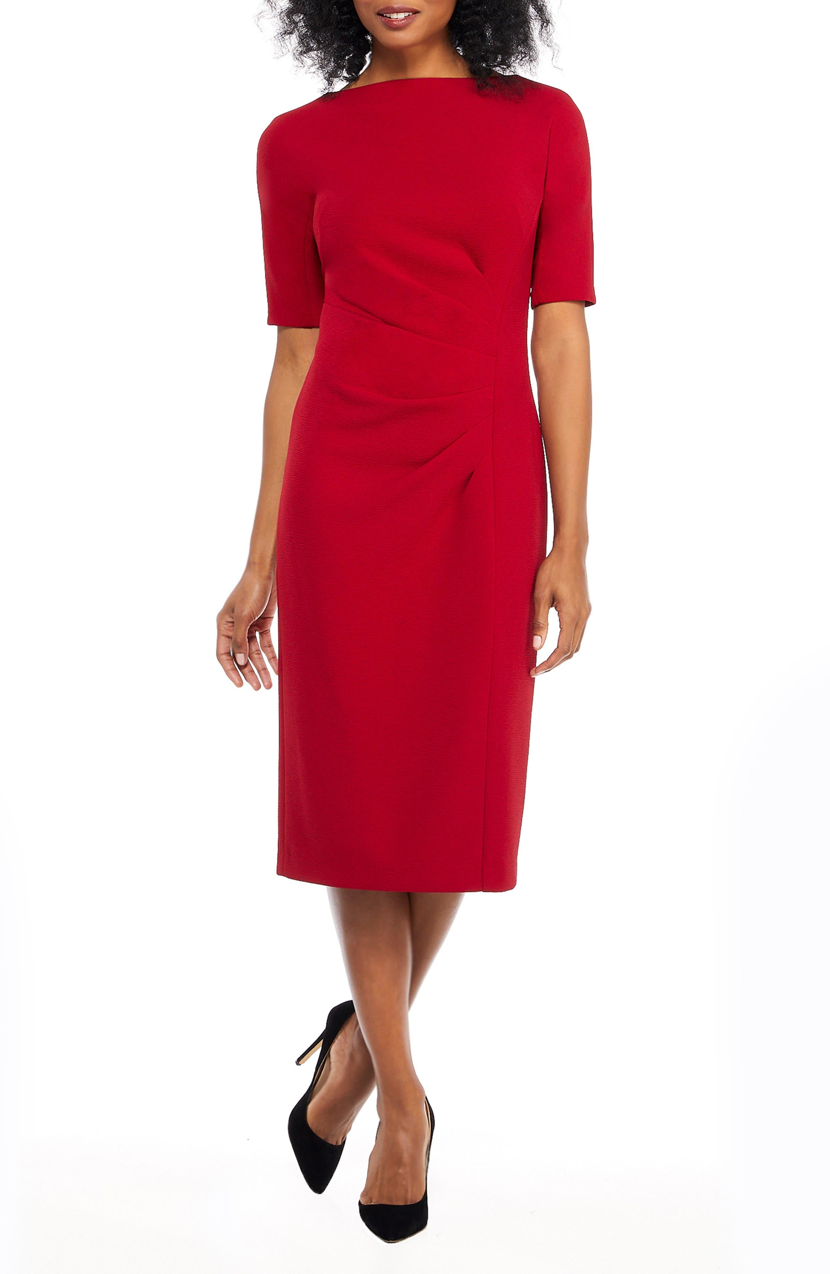 petite women's maggy london metro draped side sheath dress, size 12p - red