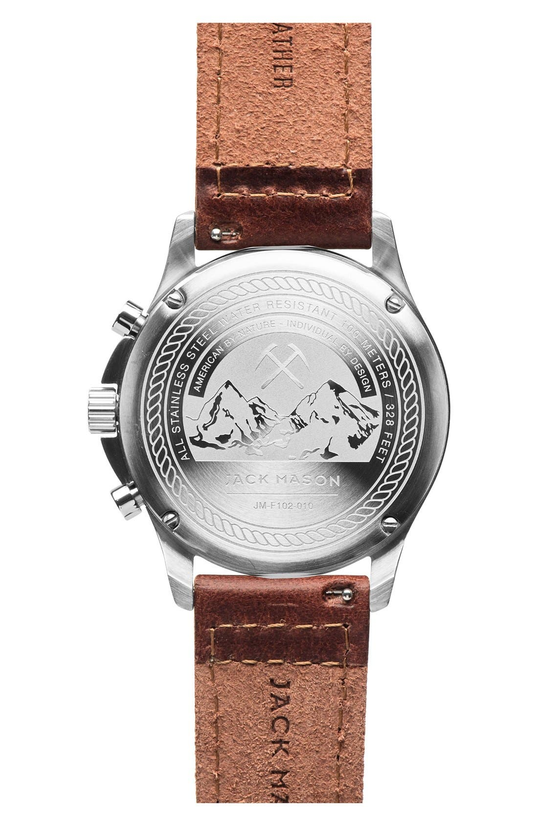 Chronograph Leather Strap Watch, 42mm,                             Alternate thumbnail 2, color,                             200