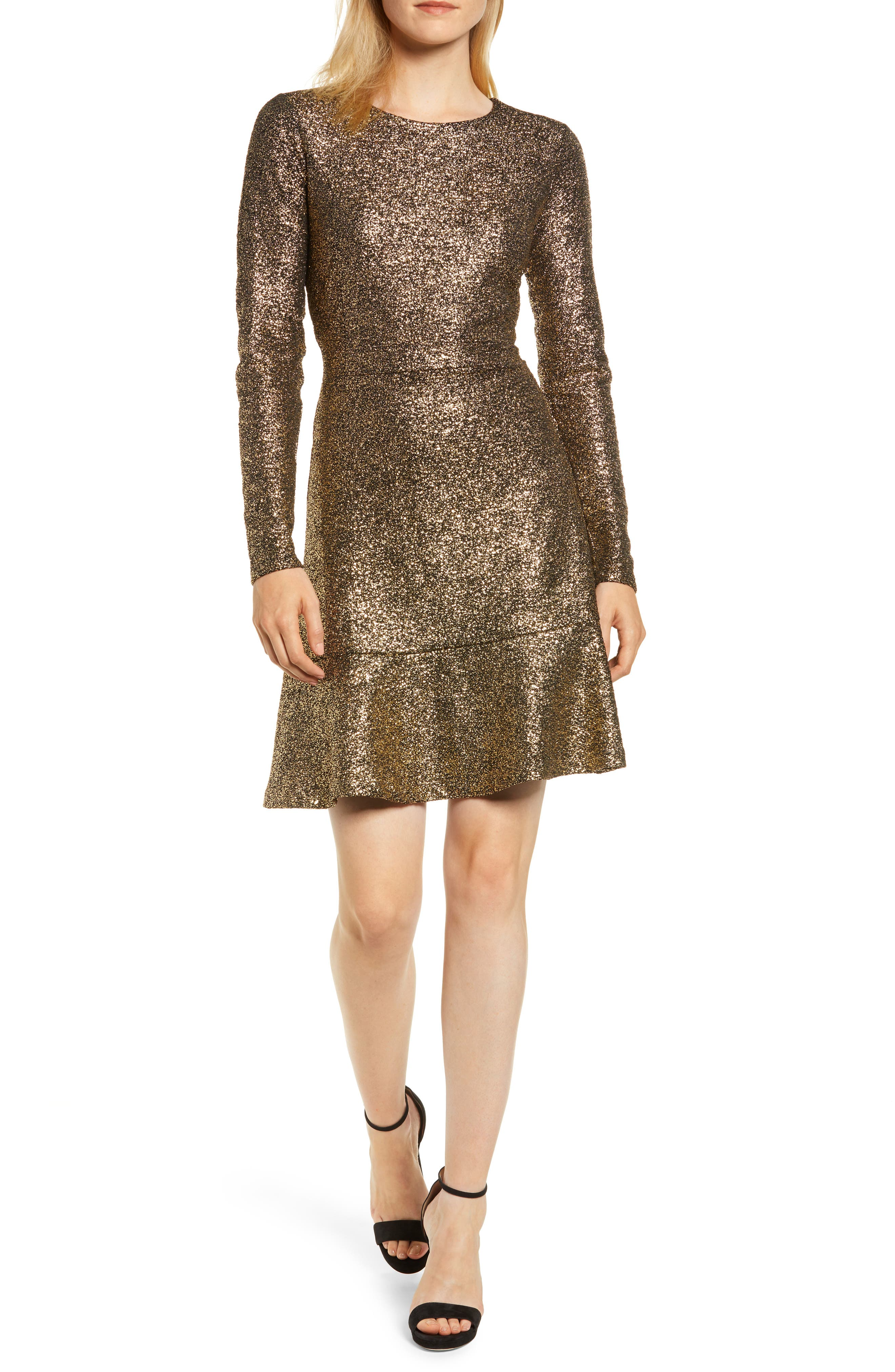 Foil Knit Flounce Dress,                             Main thumbnail 1, color,                             001