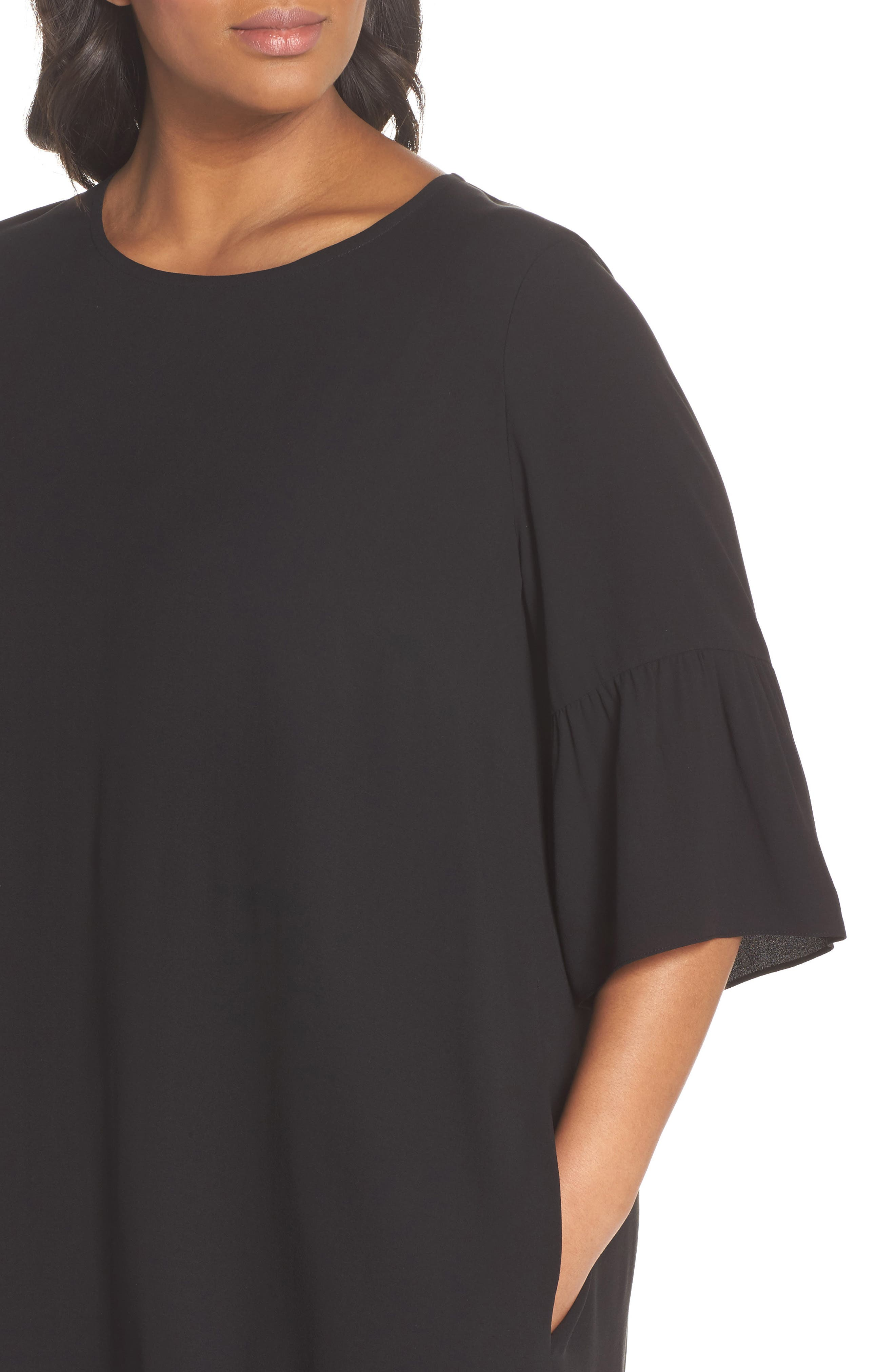 Flare Sleeve Silk Shift Dress,                             Alternate thumbnail 4, color,                             001