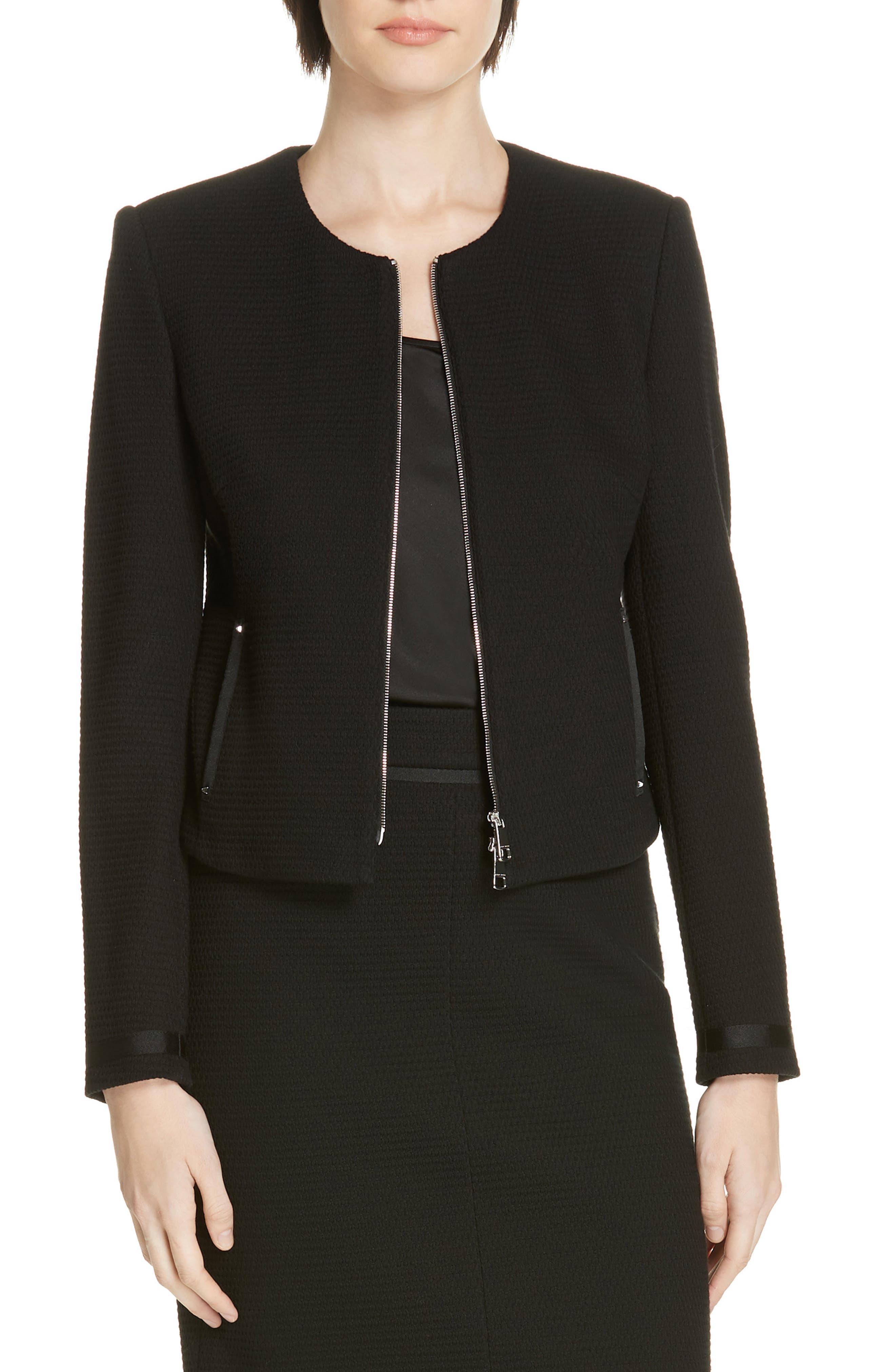 Kemio Textured Jersey Suit Jacket,                             Main thumbnail 1, color,                             BLACK