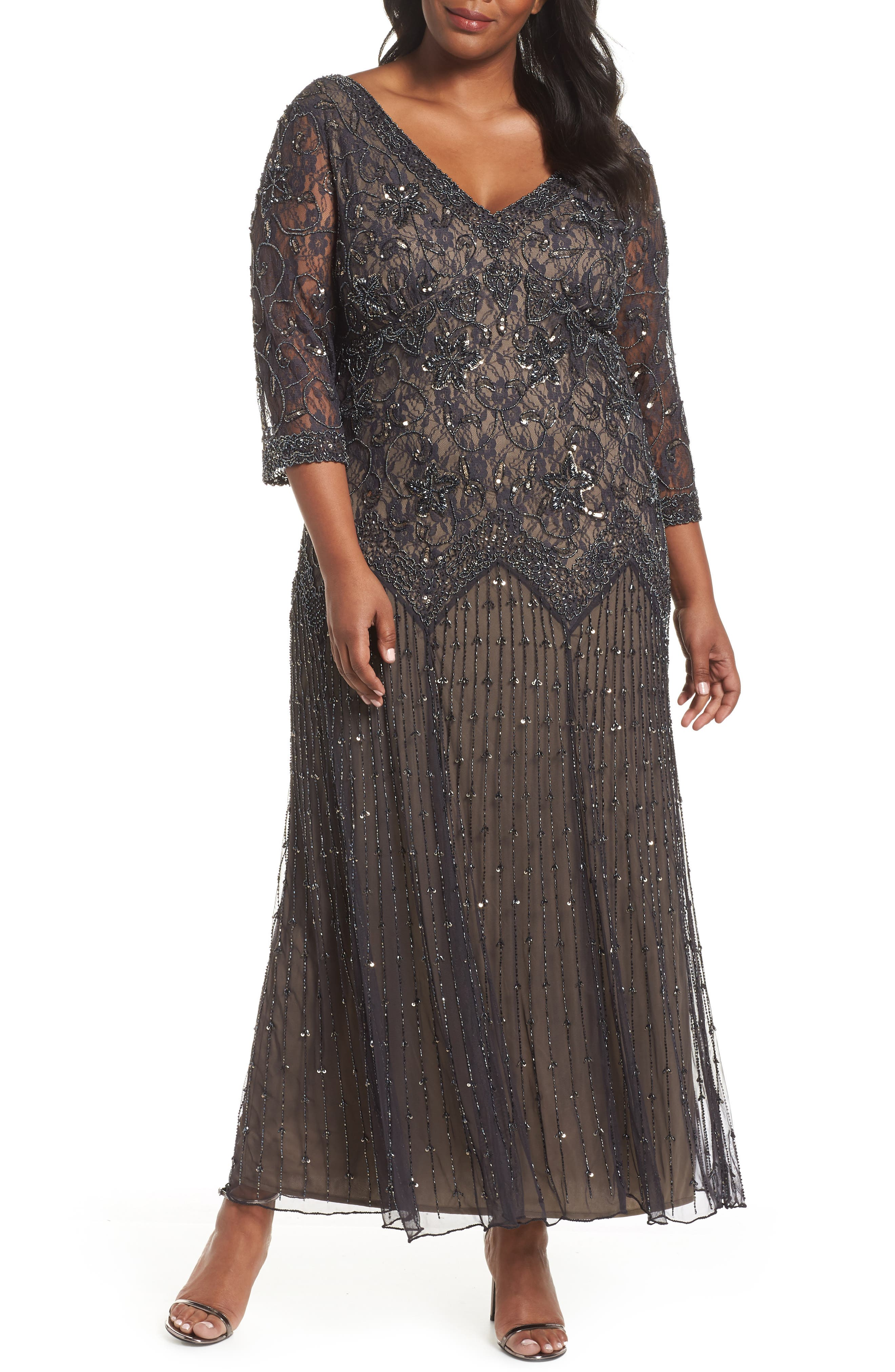 Beaded Mesh Gown,                         Main,                         color, 021
