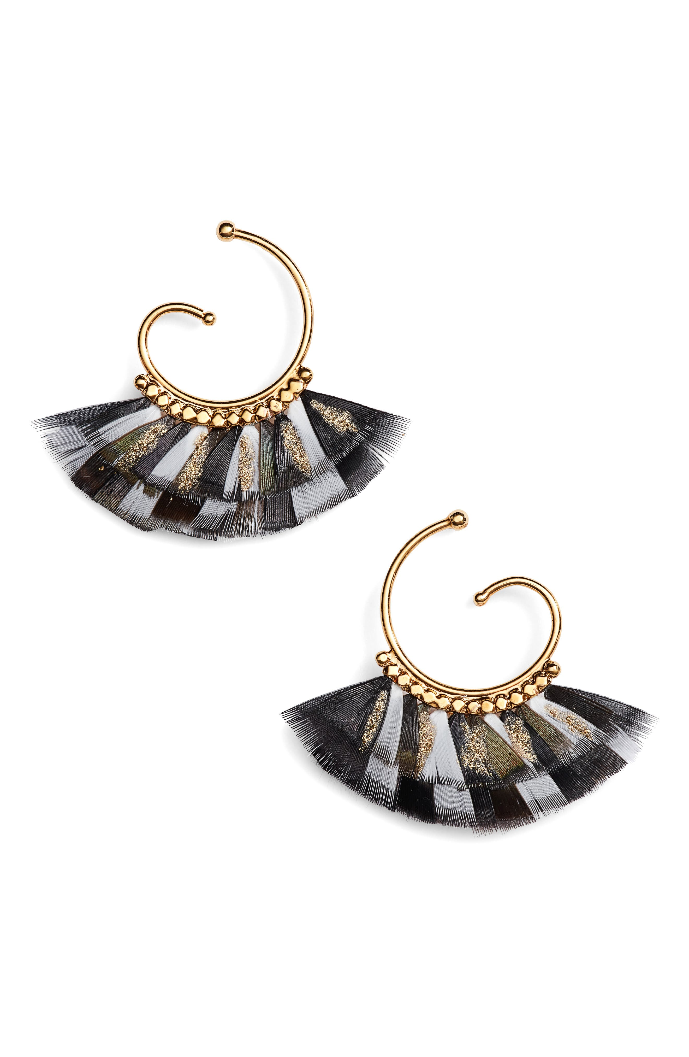 Small Buzios Feather Earrings,                             Main thumbnail 1, color,                             BLACK/ GOLD