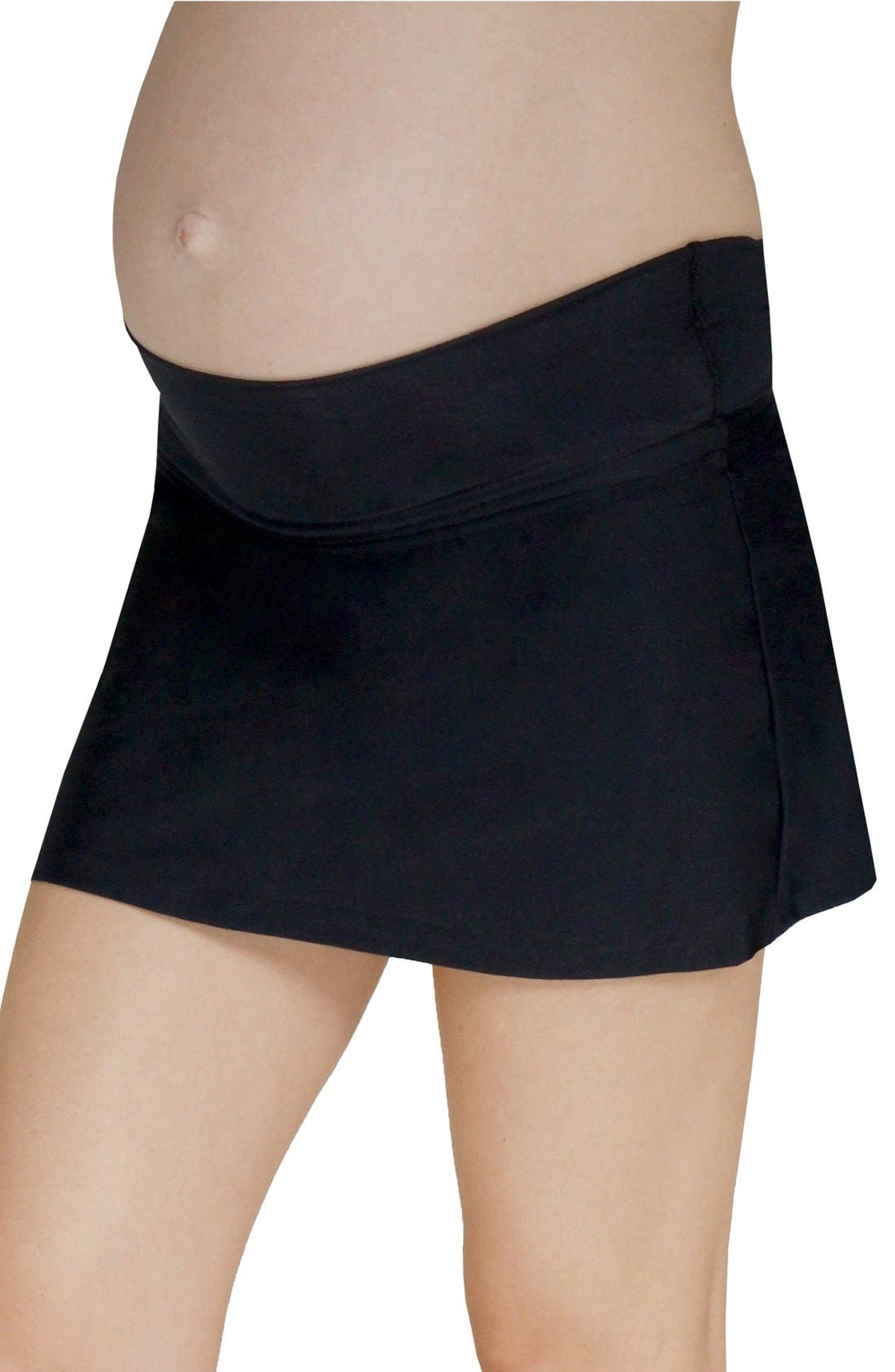 Foldover Maternity Swim Skirt With Attached Briefs,                             Alternate thumbnail 3, color,                             BLACK