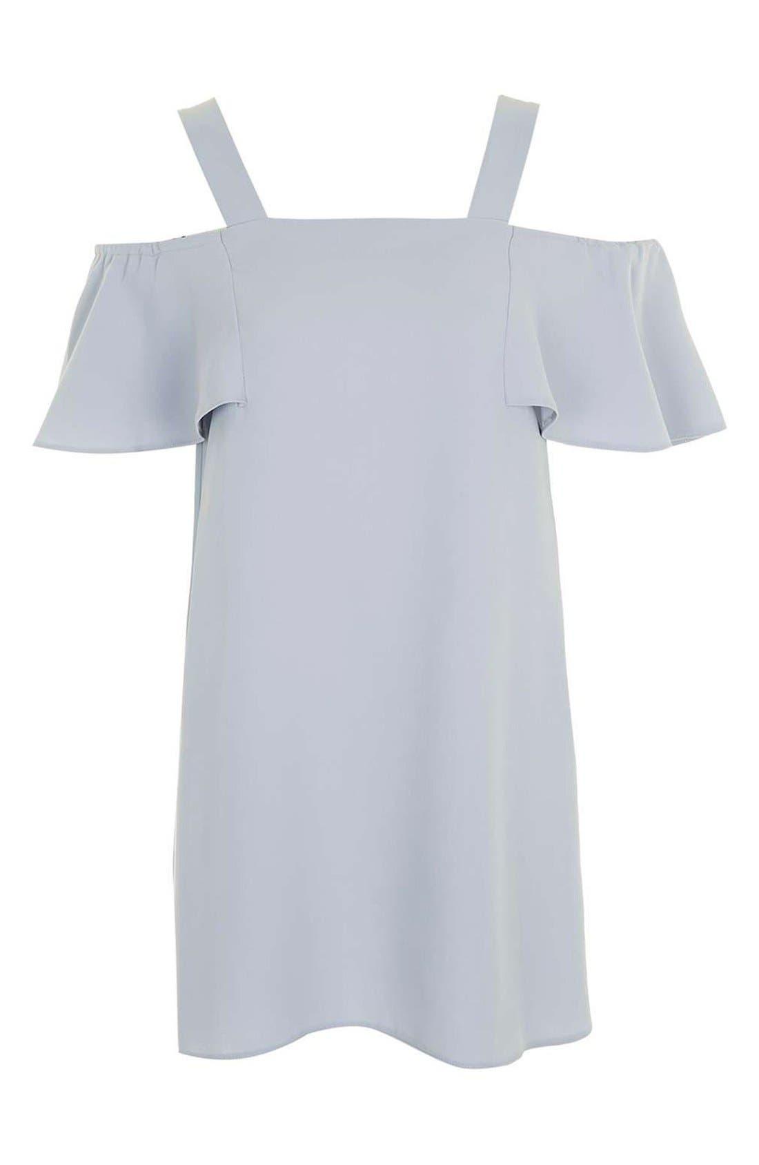TOPSHOP,                             Cold Shoulder Shift Dress,                             Alternate thumbnail 3, color,                             050