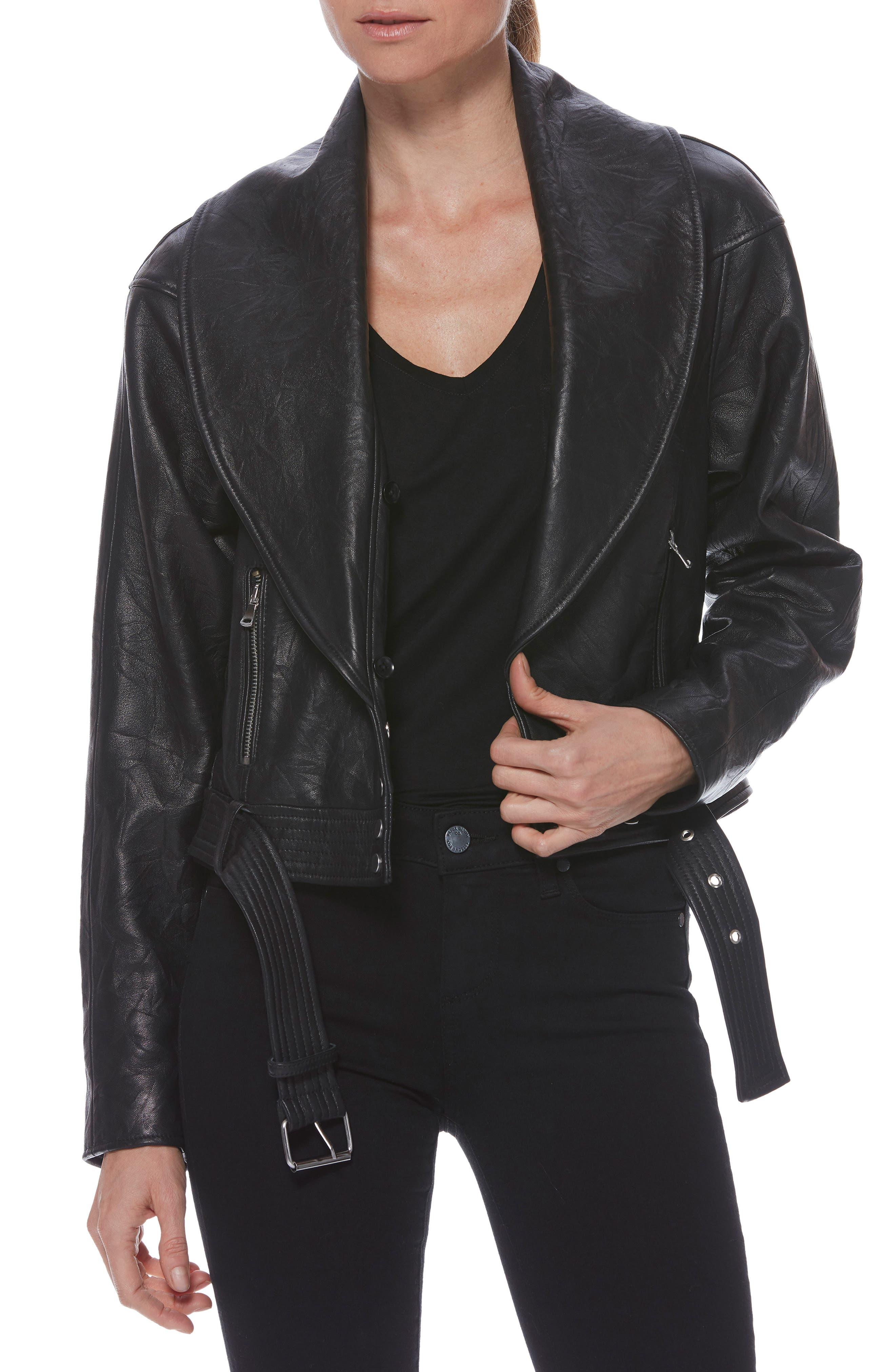 Rizza Lambskin Leather Moto Jacket with Removable Faux Fur Collar,                             Alternate thumbnail 2, color,                             BLACK