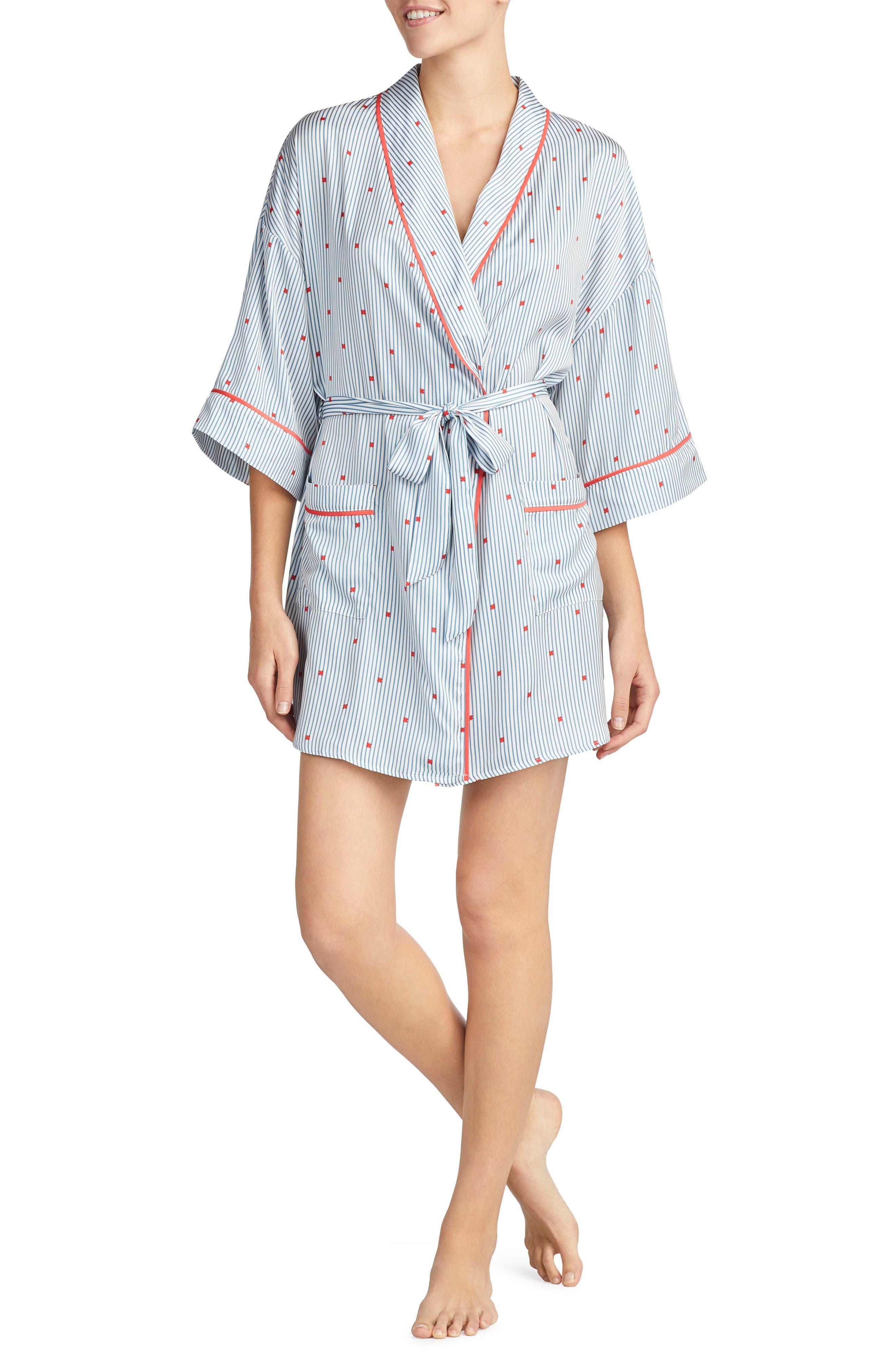 Satin Short Robe,                             Main thumbnail 2, color,