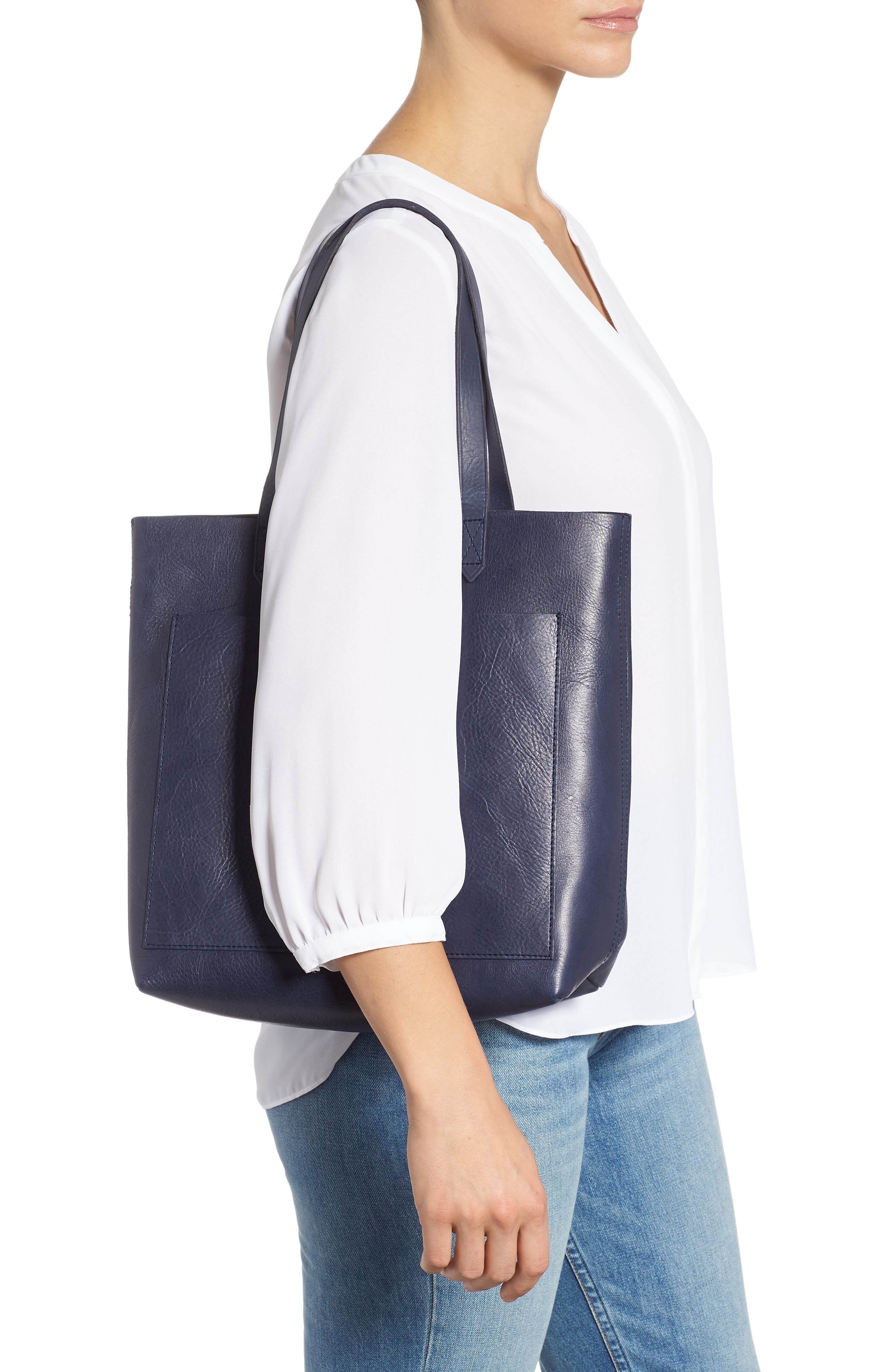 Medium Leather Transport Tote,                             Alternate thumbnail 2, color,                             DEEP NAVY