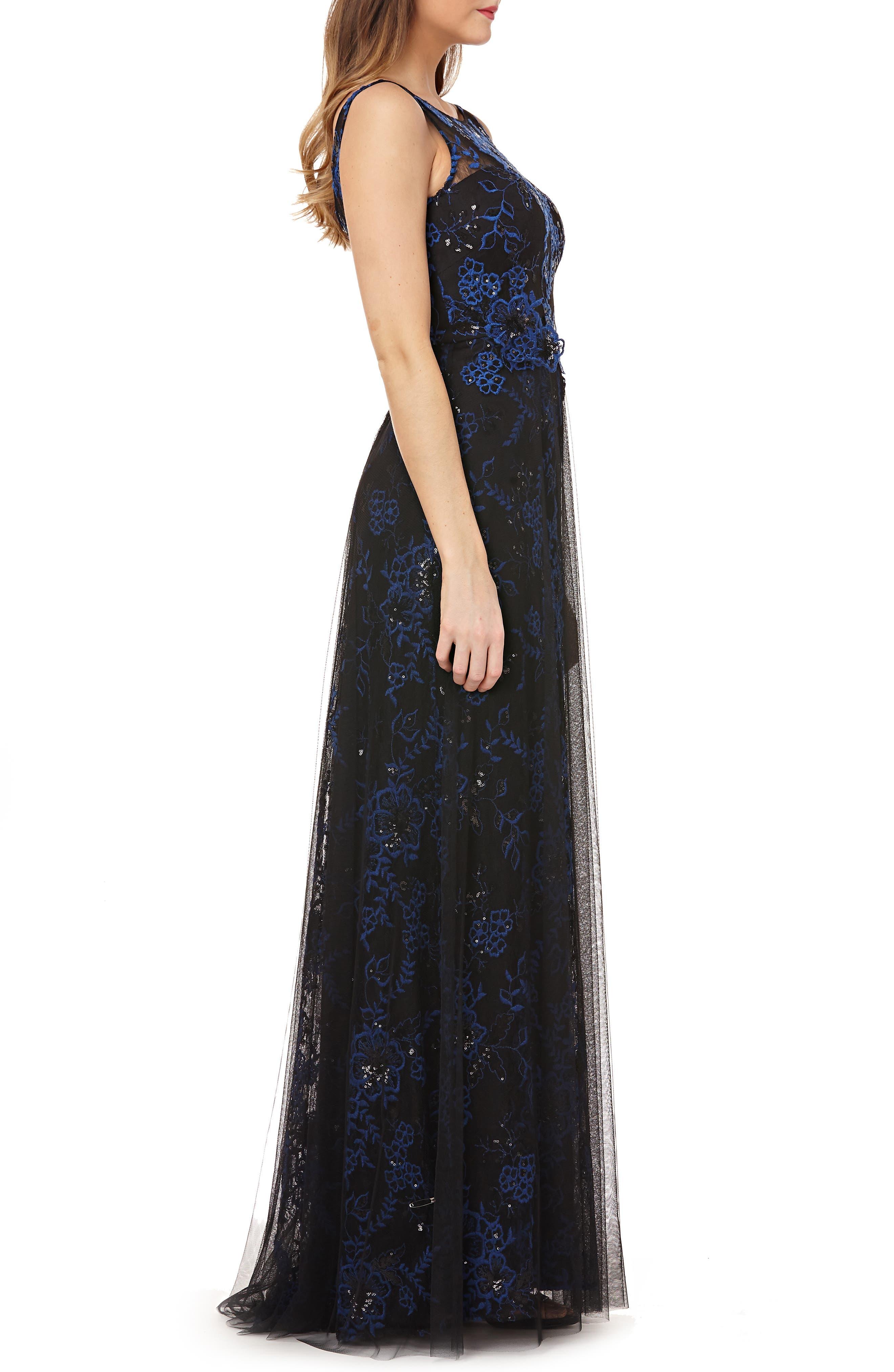 CARMEN MARC VALVO INFUSION,                             Sequin Threadwork Gown,                             Alternate thumbnail 3, color,                             COBALT/ BLACK