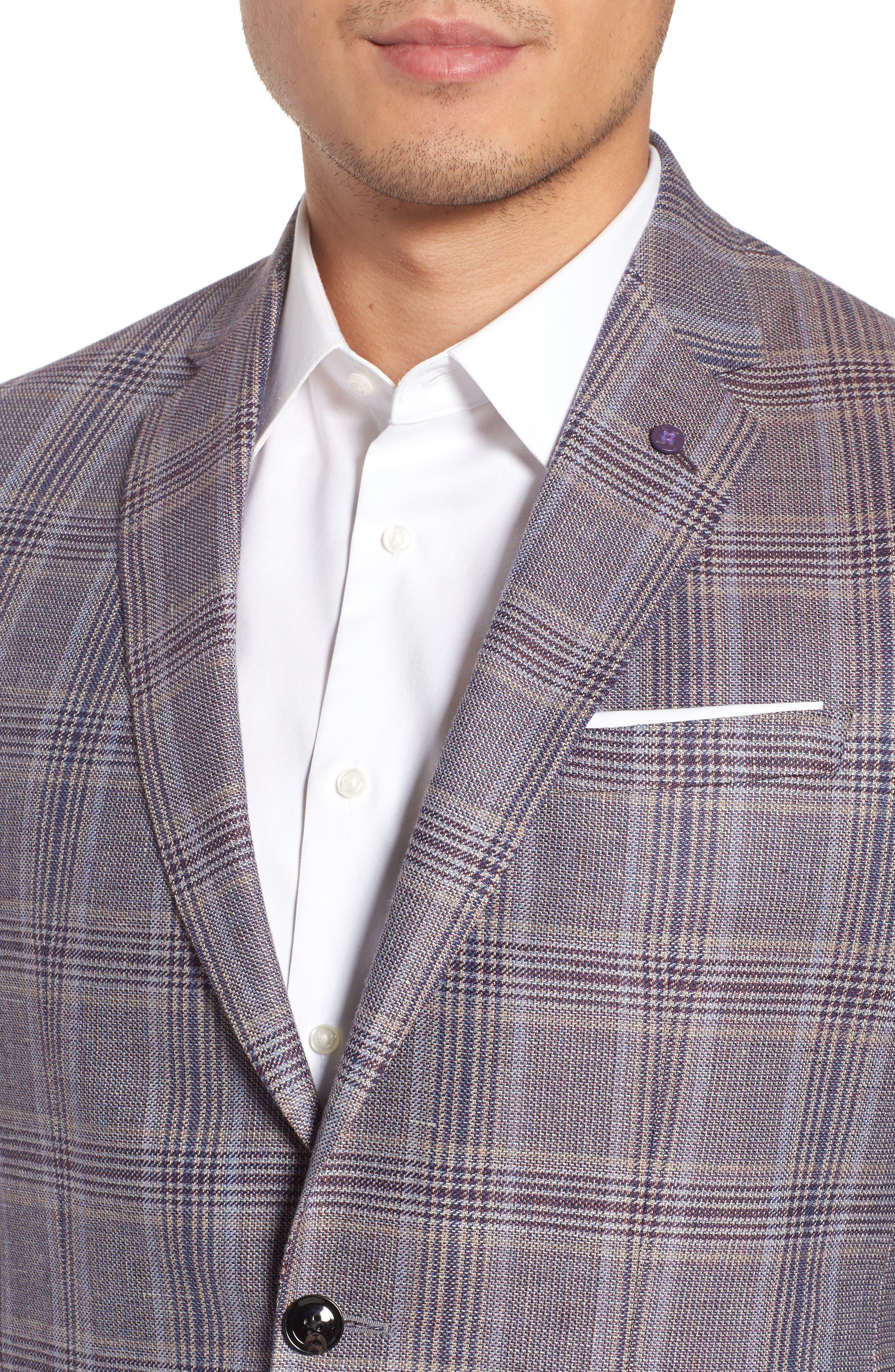 Konan Trim Fit Plaid Linen & Wool Sport Coat,                             Alternate thumbnail 4, color,                             270