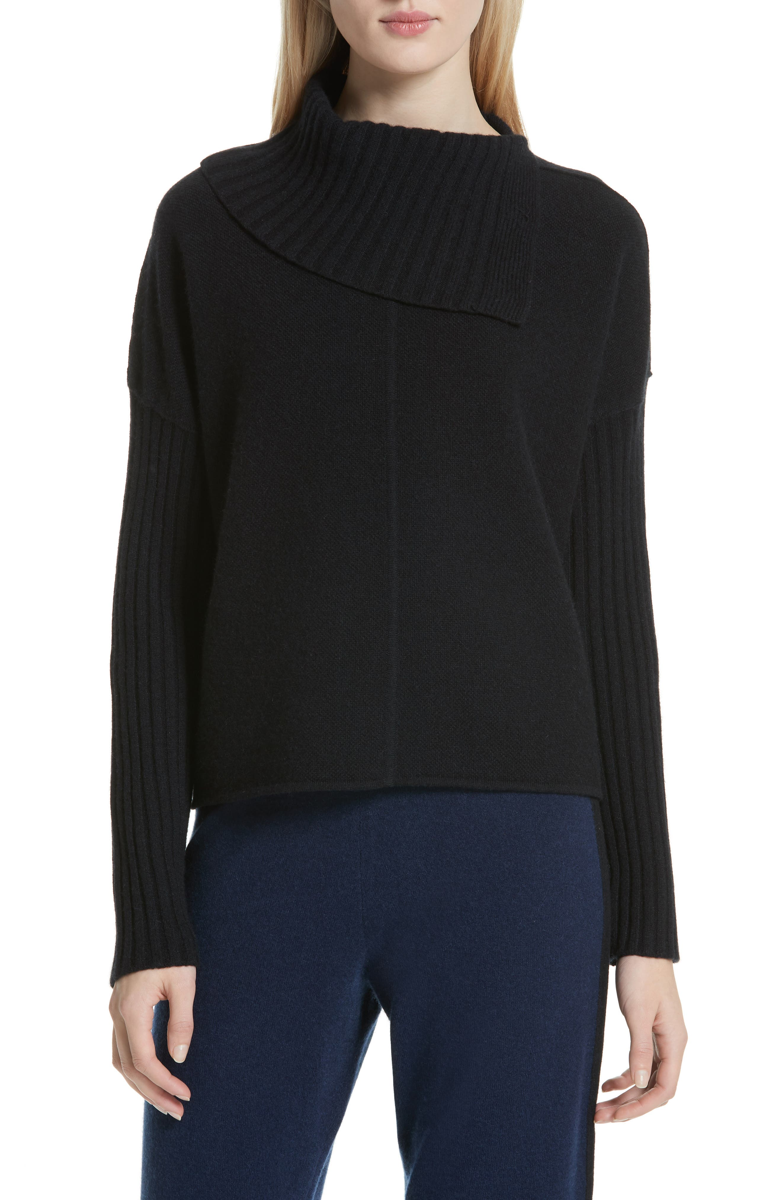 Nordstrom Signature Split Turtleneck Cashmere Sweater, Black