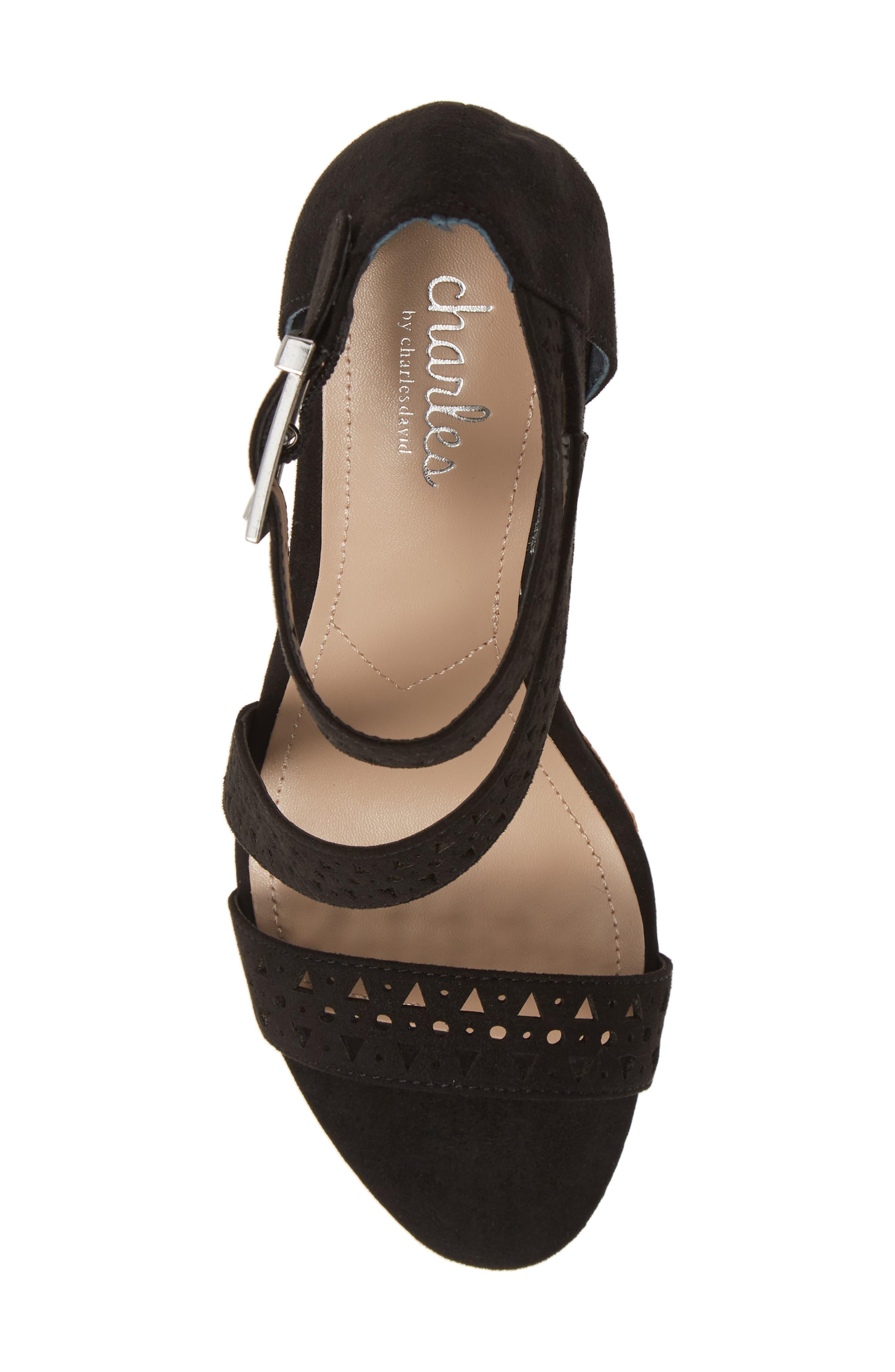 Landon Perforated Wedge Sandal,                             Alternate thumbnail 5, color,                             BLACK FABRIC