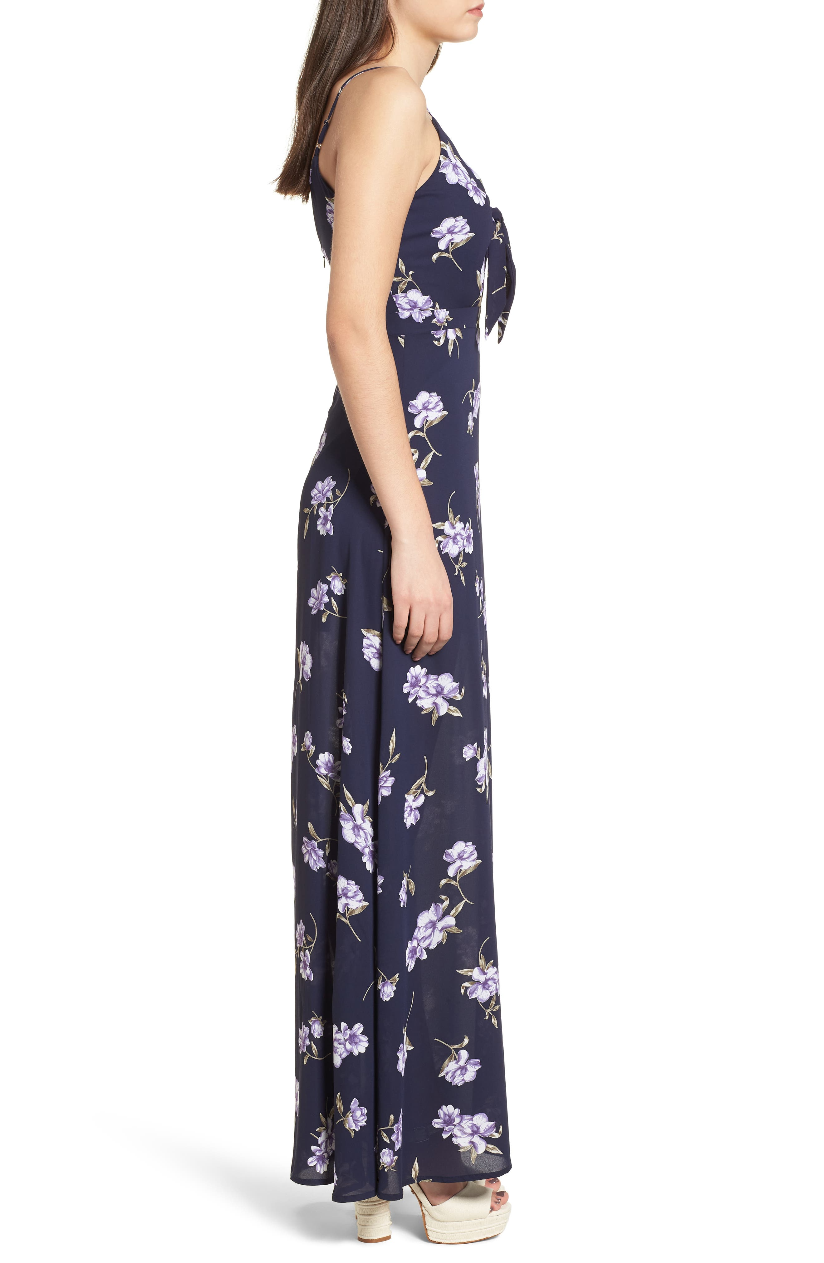 Tie Front Maxi Dress,                             Alternate thumbnail 3, color,                             400