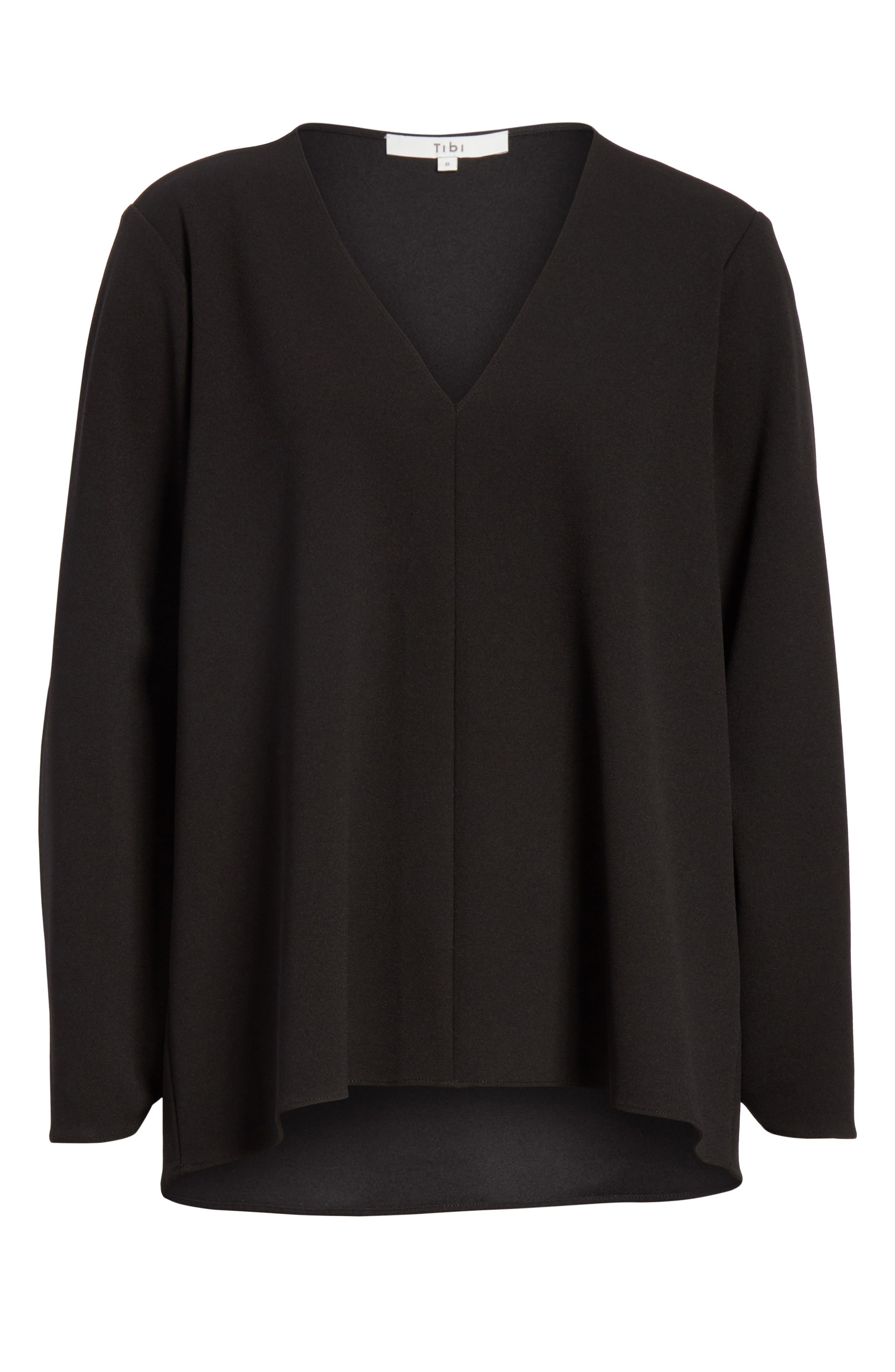 Ruched Sleeve Top,                             Alternate thumbnail 6, color,                             BLACK