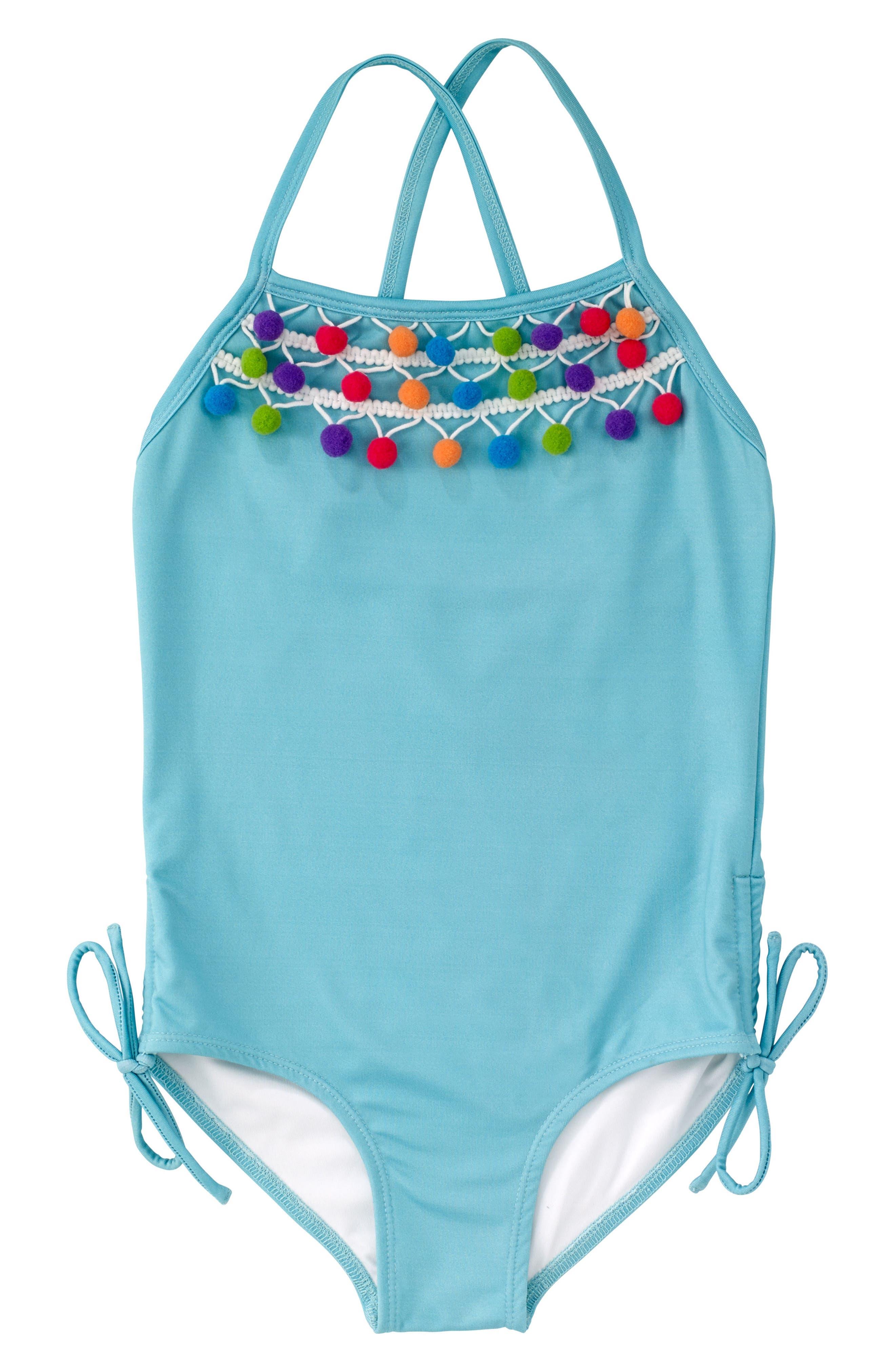 Pompom One-Piece Swimsuit,                             Main thumbnail 1, color,                             400