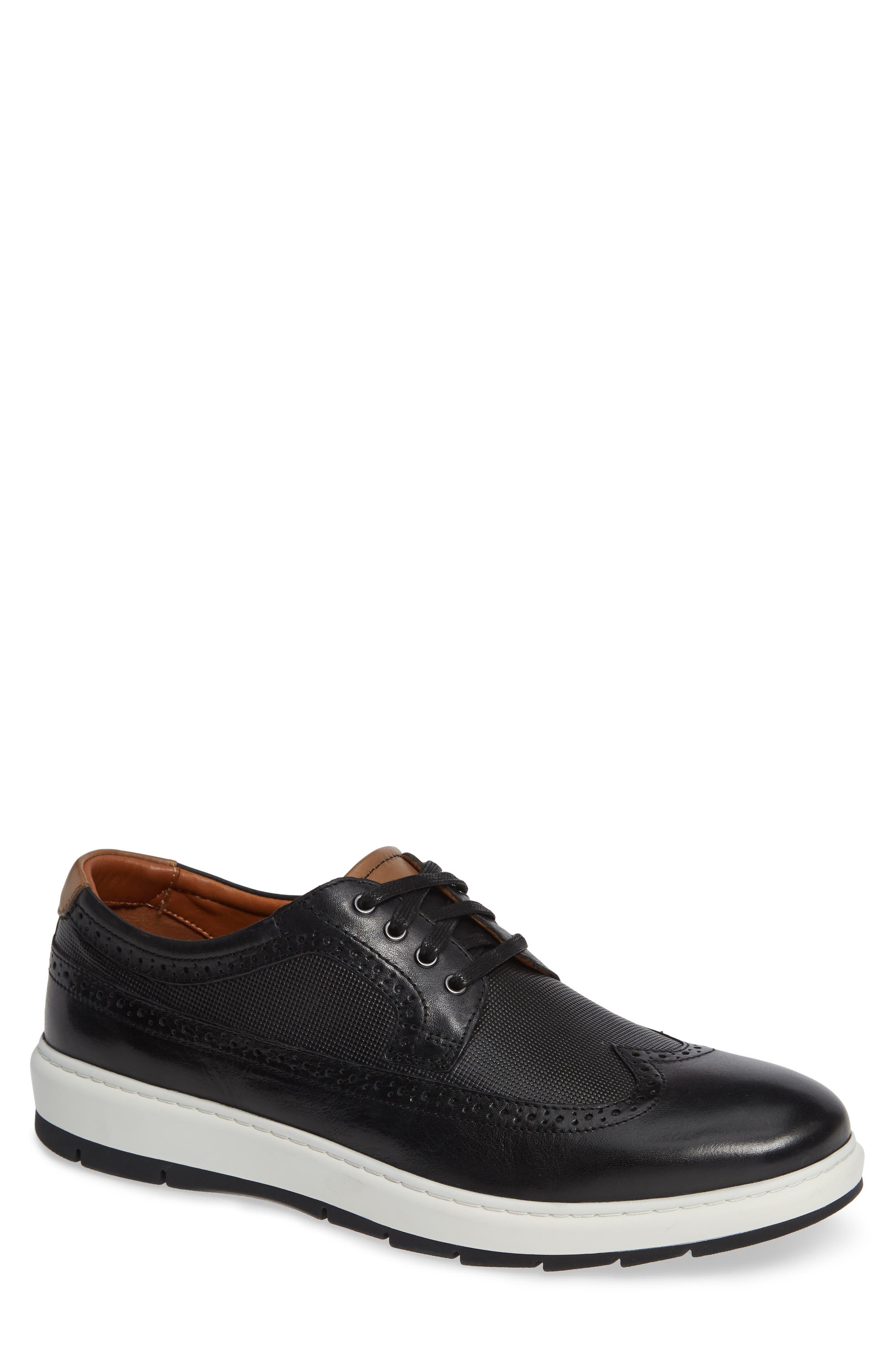 Elliston Wingtip Sneaker,                             Main thumbnail 1, color,                             BLACK LEATHER