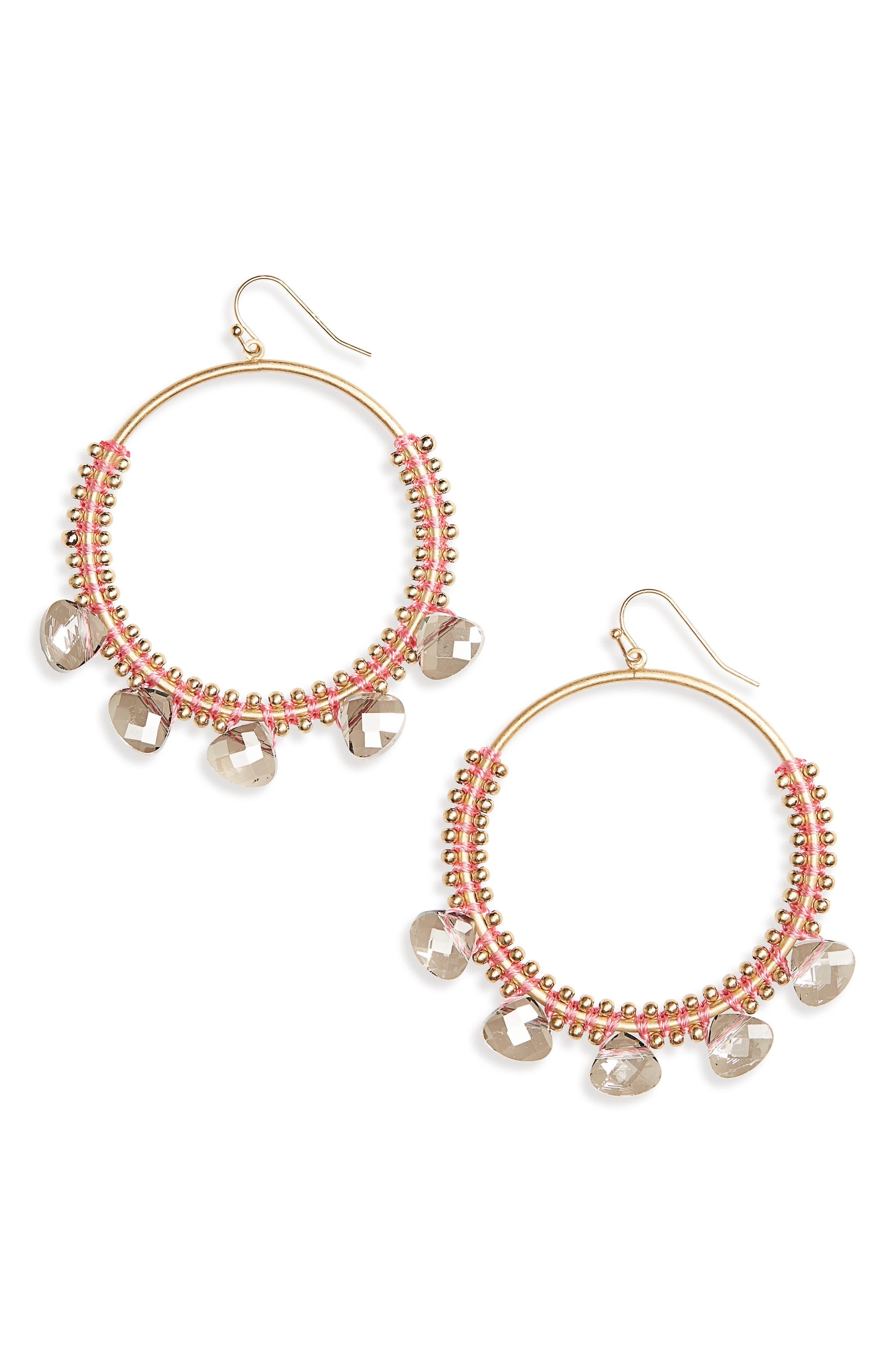 Crystal Hoop Earrings,                         Main,                         color,
