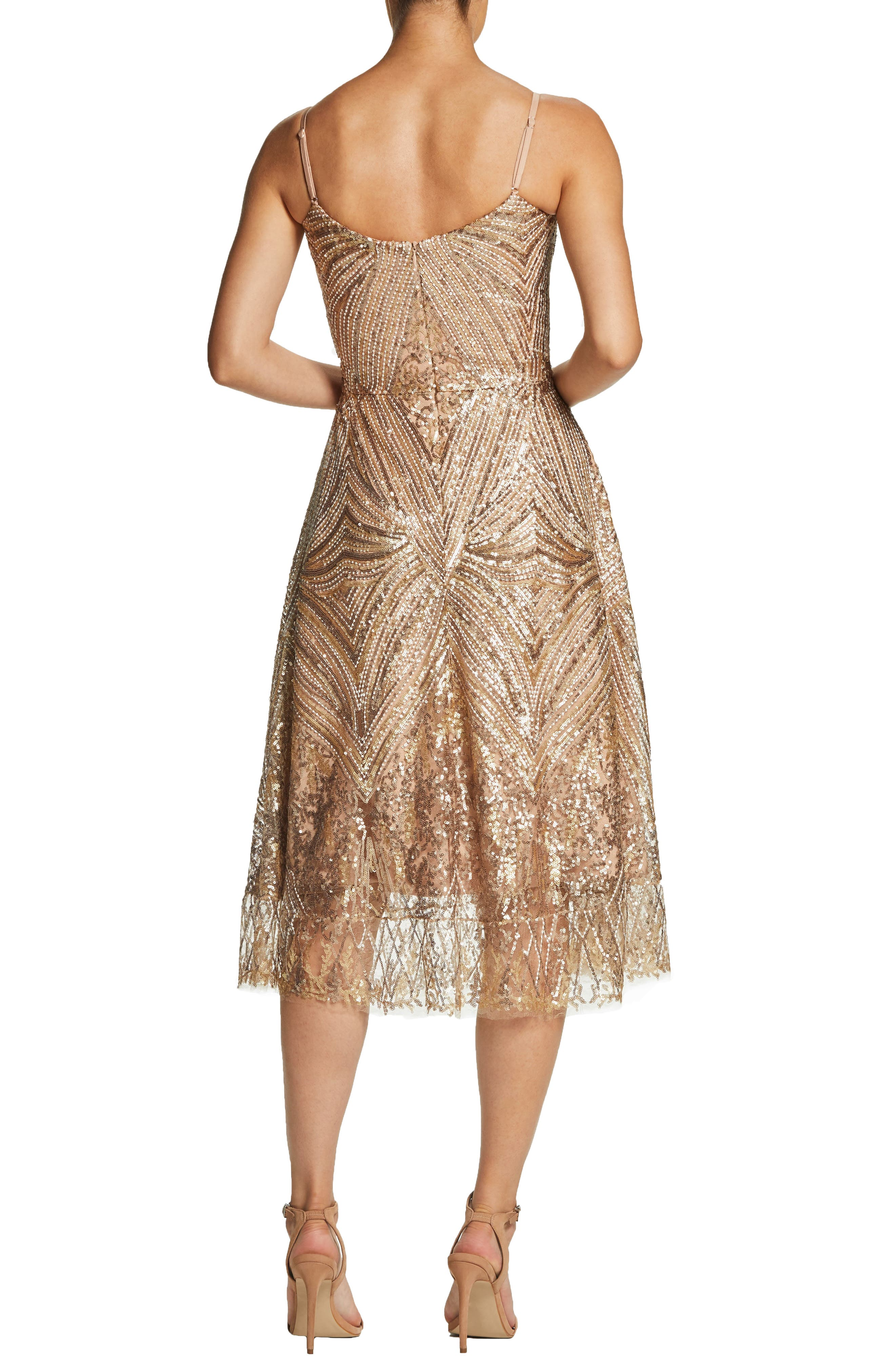 DRESS THE POPULATION,                             Leona Art Deco Sequin Fit & Flare Dress,                             Alternate thumbnail 2, color,                             GOLD/ BRASS