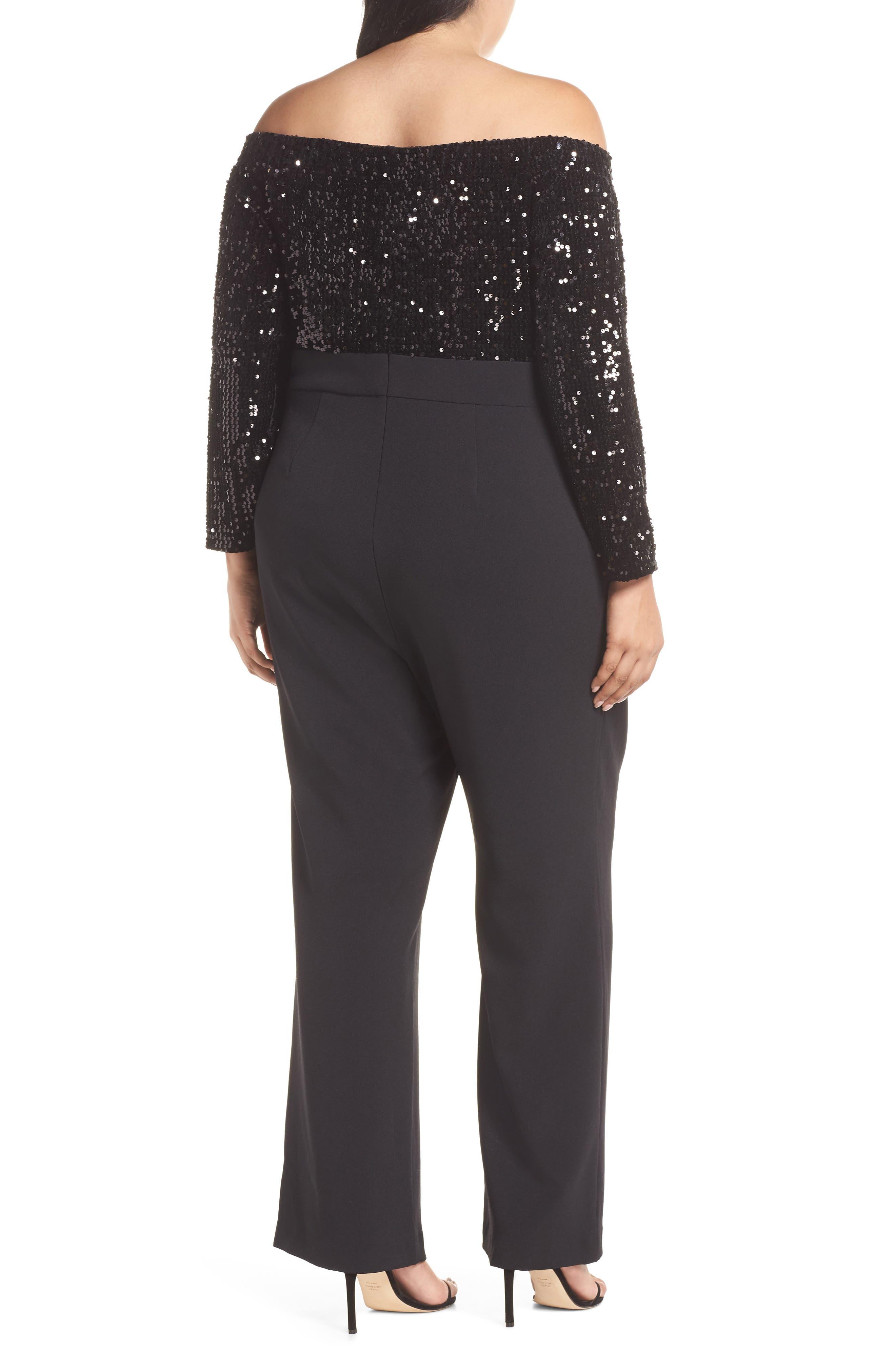Off the Shoulder Sequin Velvet & Crepe Jumpsuit,                             Alternate thumbnail 2, color,                             BLACK