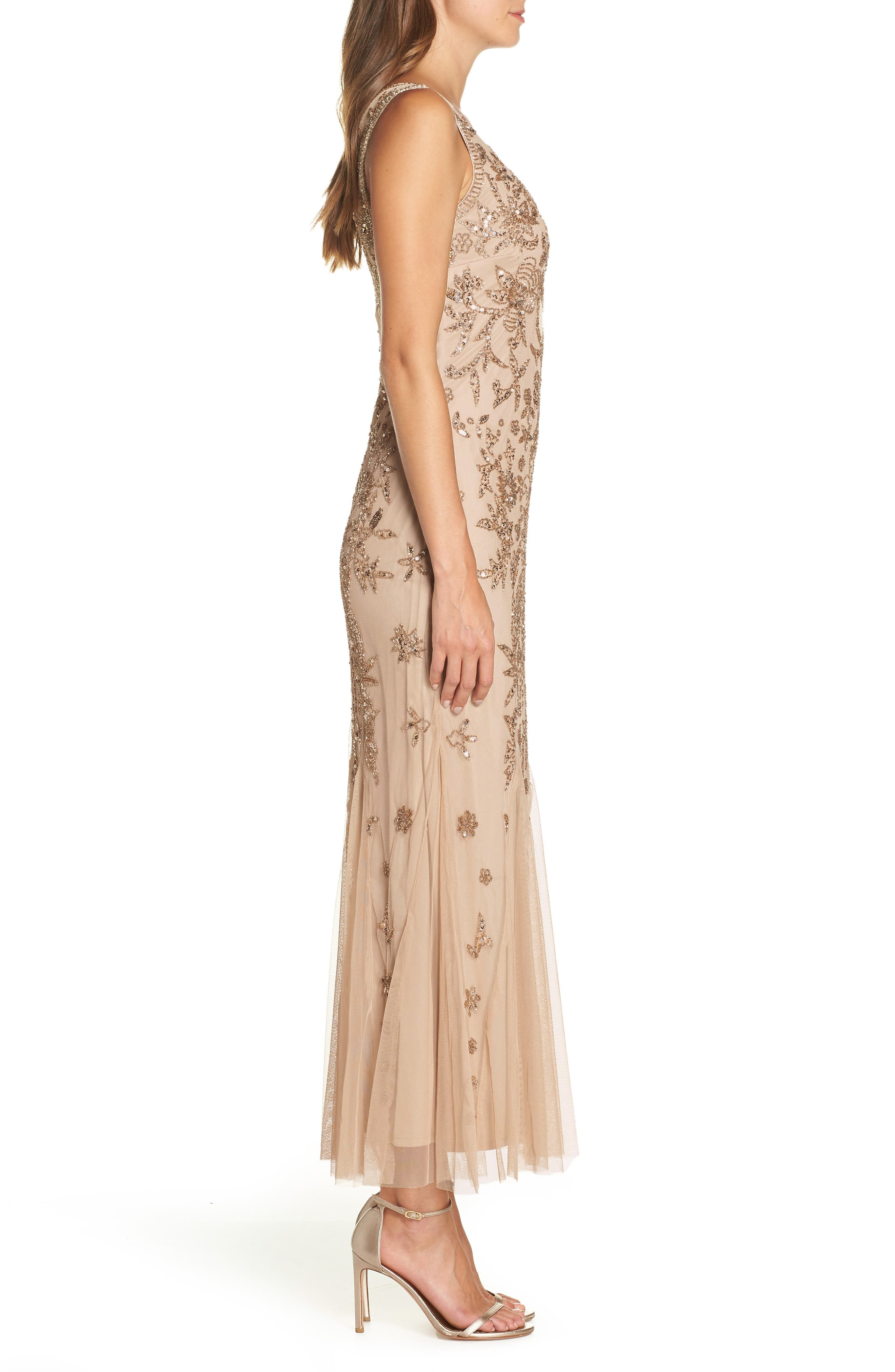 Embellished Mesh Gown,                             Alternate thumbnail 3, color,                             690