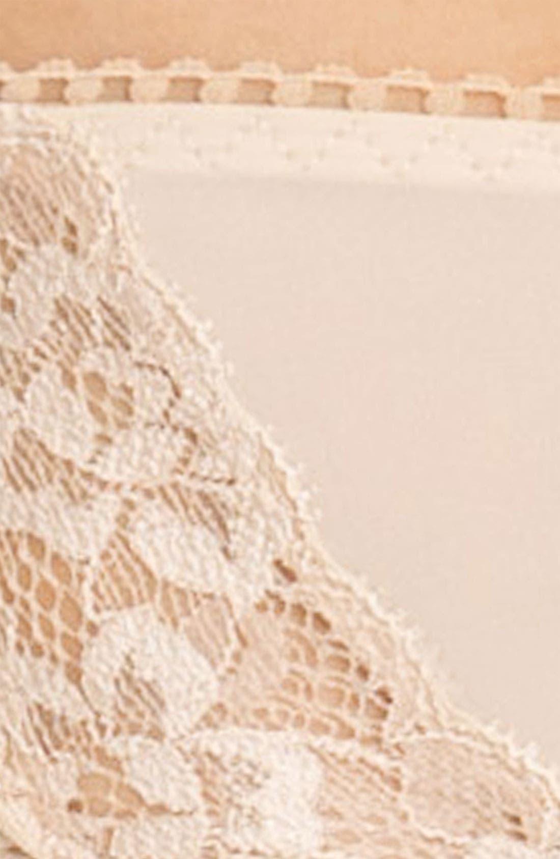 'Bodysuede' Lace Trim High Cut Briefs,                             Alternate thumbnail 3, color,                             NATURAL NUDE