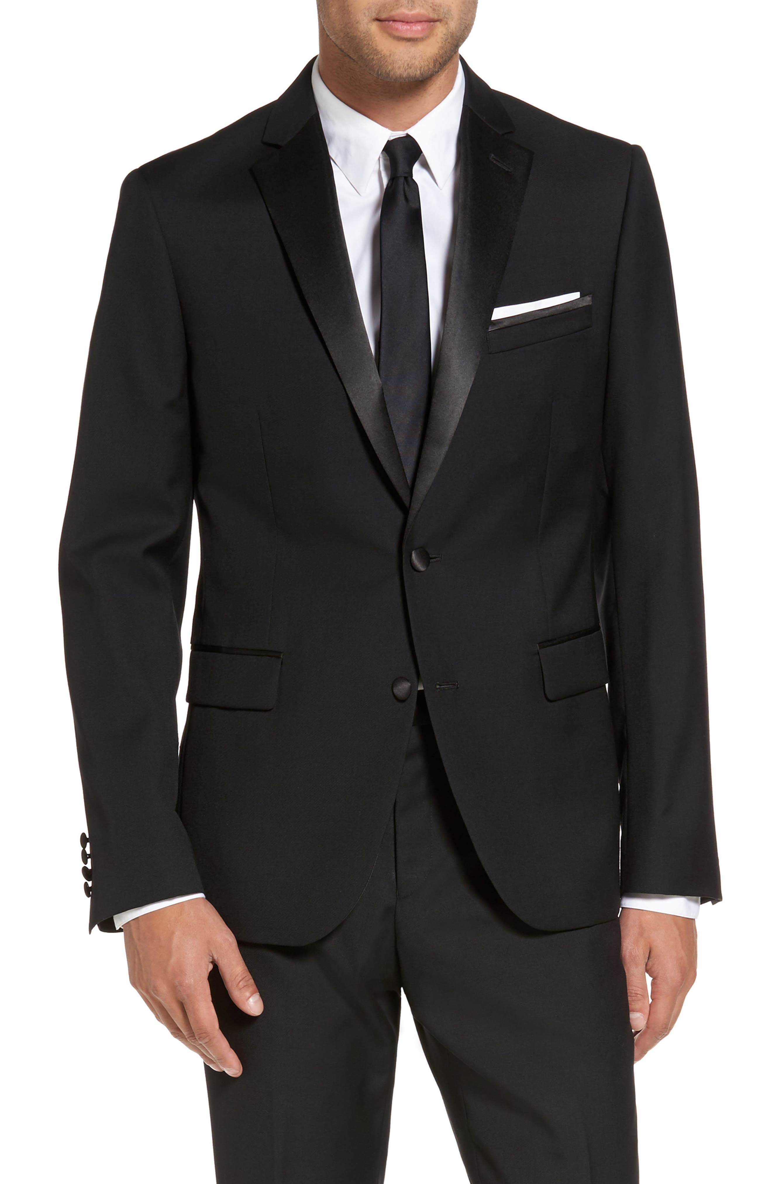 Trim Fit Wool Blend Tuxedo,                             Alternate thumbnail 5, color,                             BLACK