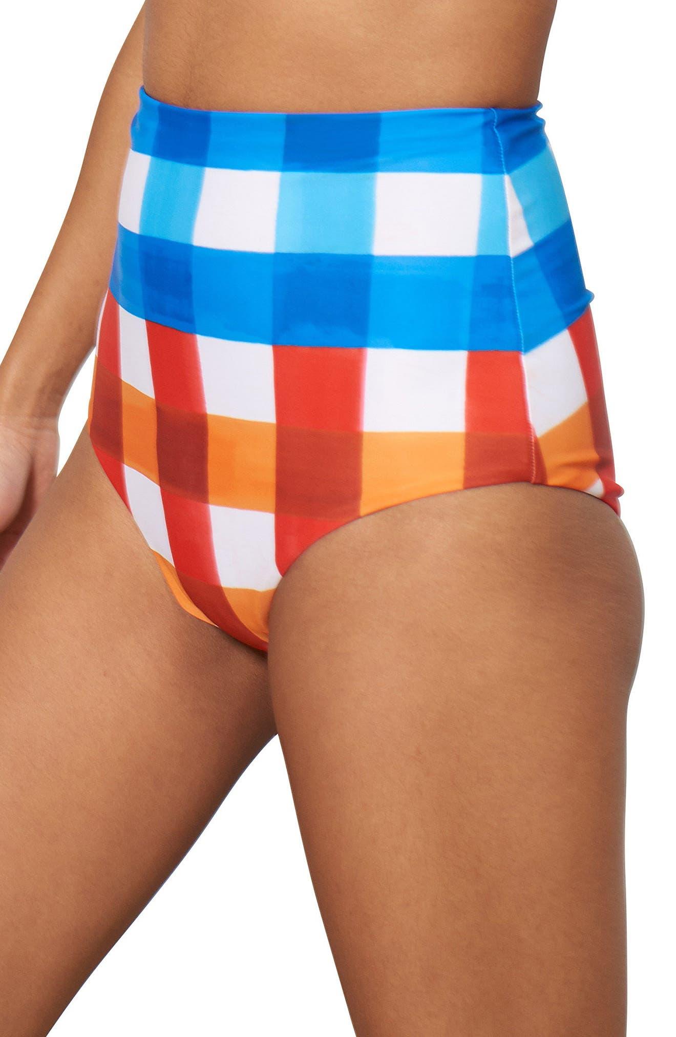 Lydia High Waist Bikini Bottoms,                             Alternate thumbnail 3, color,                             RED/ BLUE MULTI