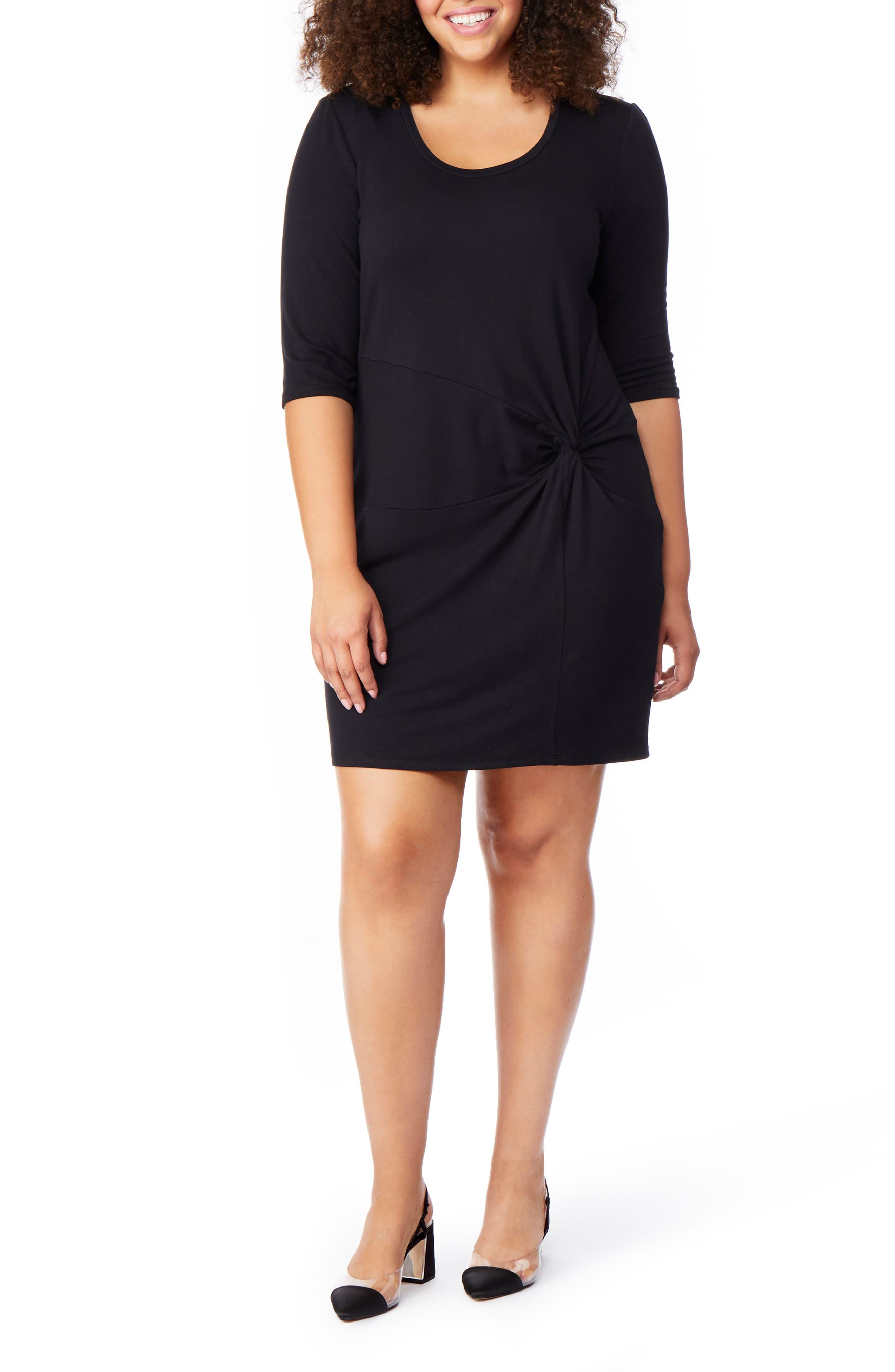 Twist Dress,                         Main,                         color, BLACK