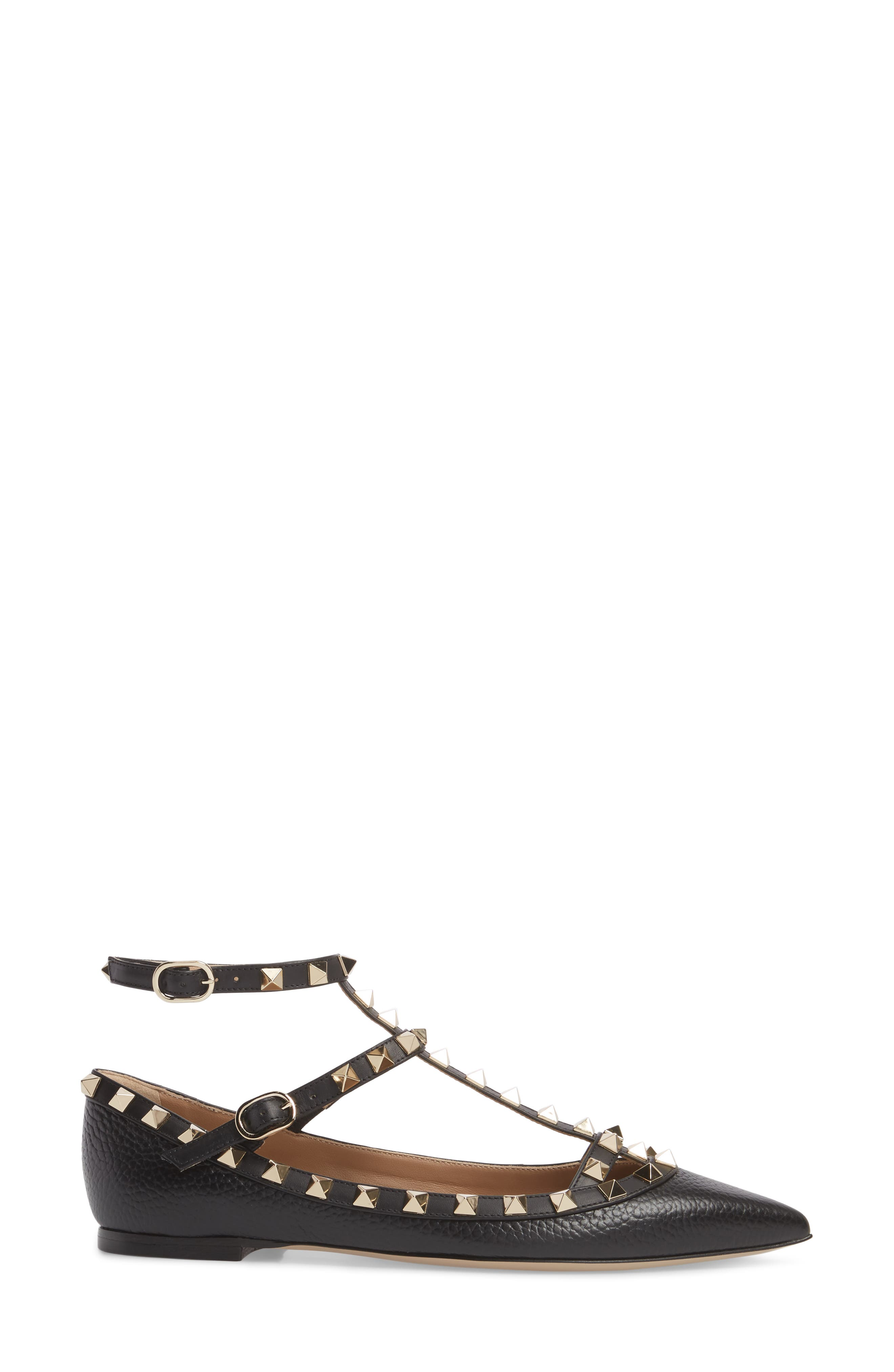 Rockstud Ankle Strap Pointy Toe Flat,                             Alternate thumbnail 3, color,                             001