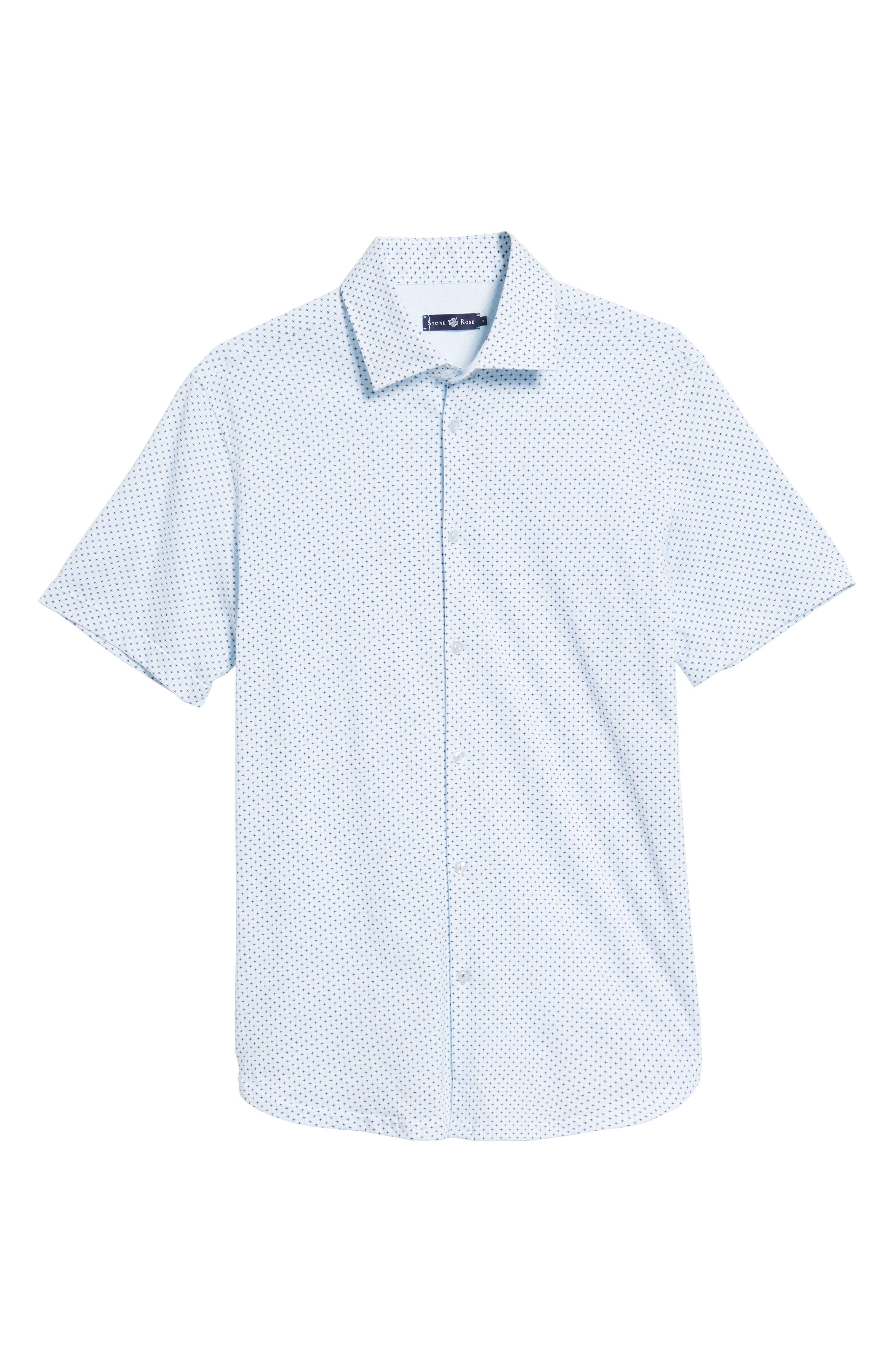 Trim Fit Geo Print Sport Shirt,                             Alternate thumbnail 6, color,                             100