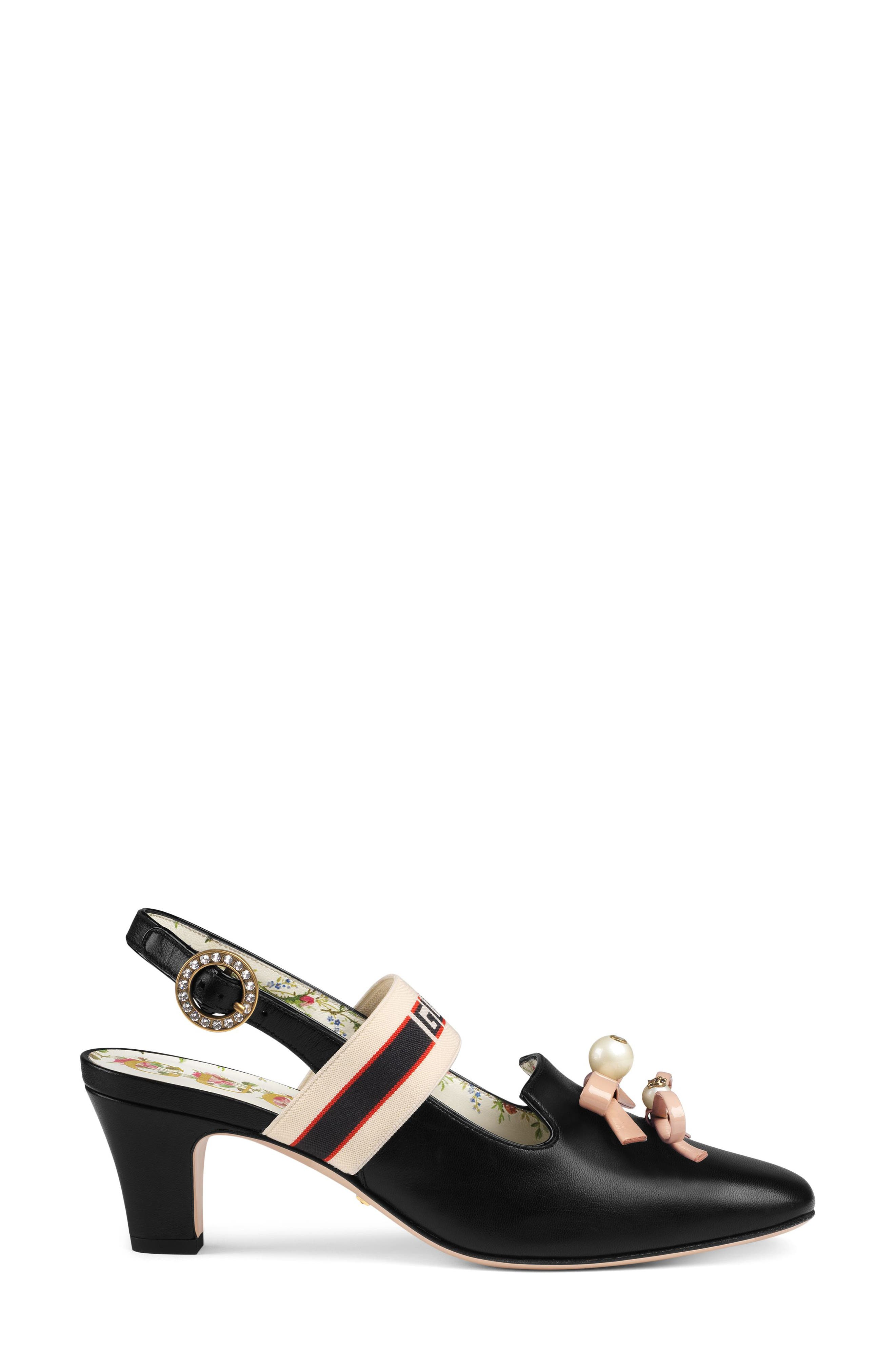 Logo Strap Slingback Pump,                             Alternate thumbnail 2, color,                             BLACK