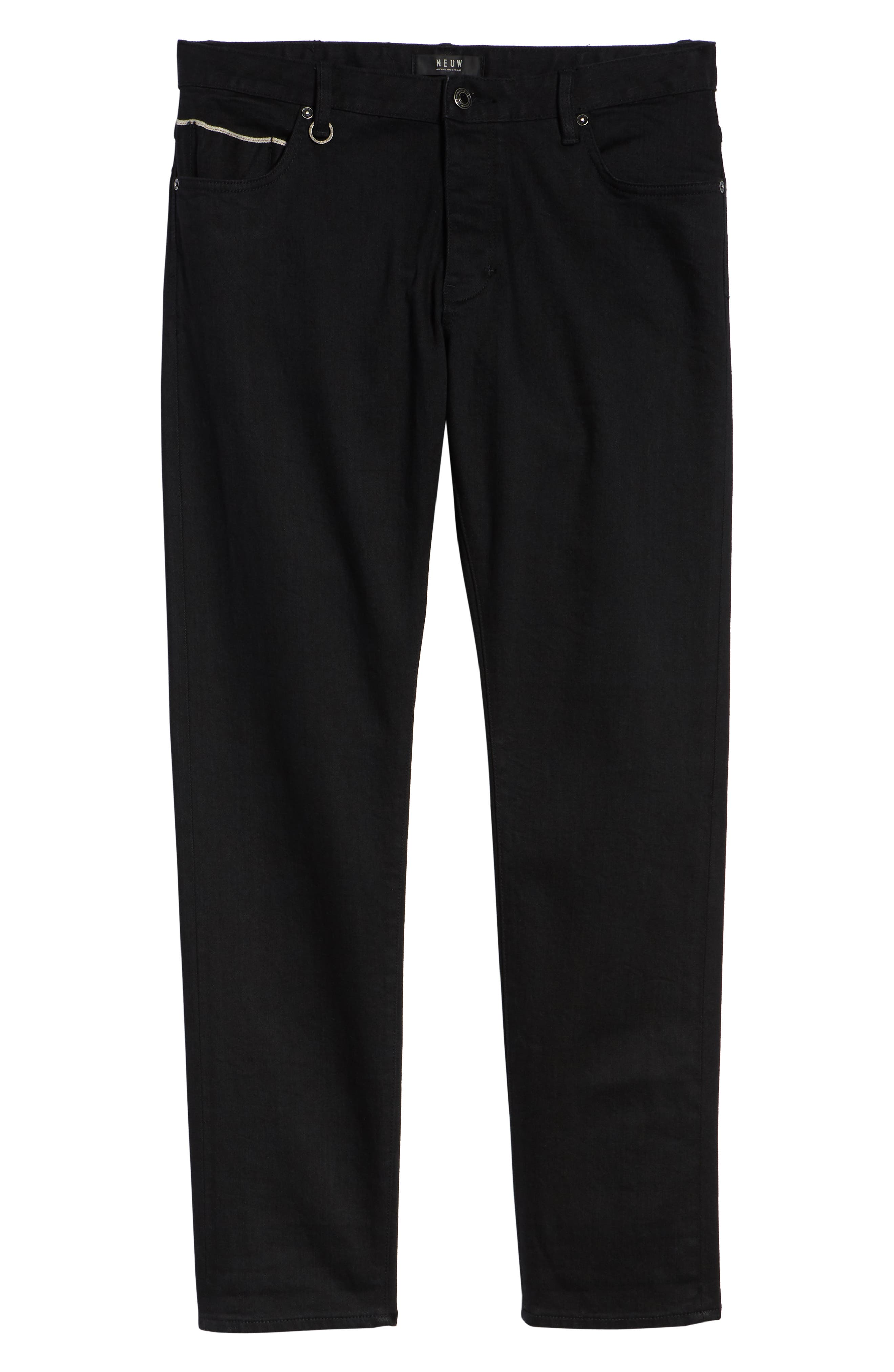 Lou Slim Fit Jeans,                             Alternate thumbnail 6, color,                             BLACK SELVEDGE