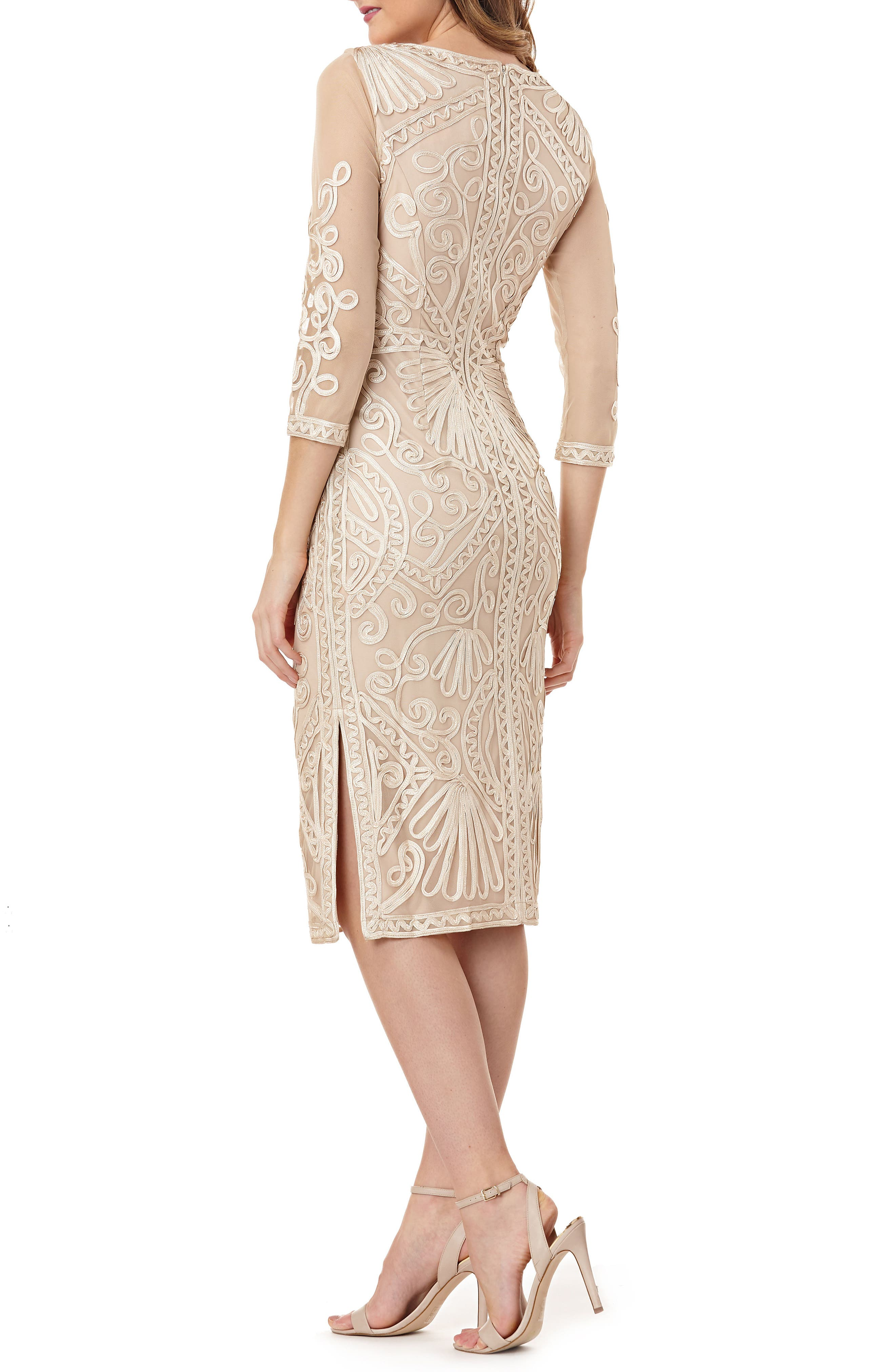 Sheer Sleeve Soutache Sheath Dress,                             Alternate thumbnail 2, color,                             ROSE GOLD